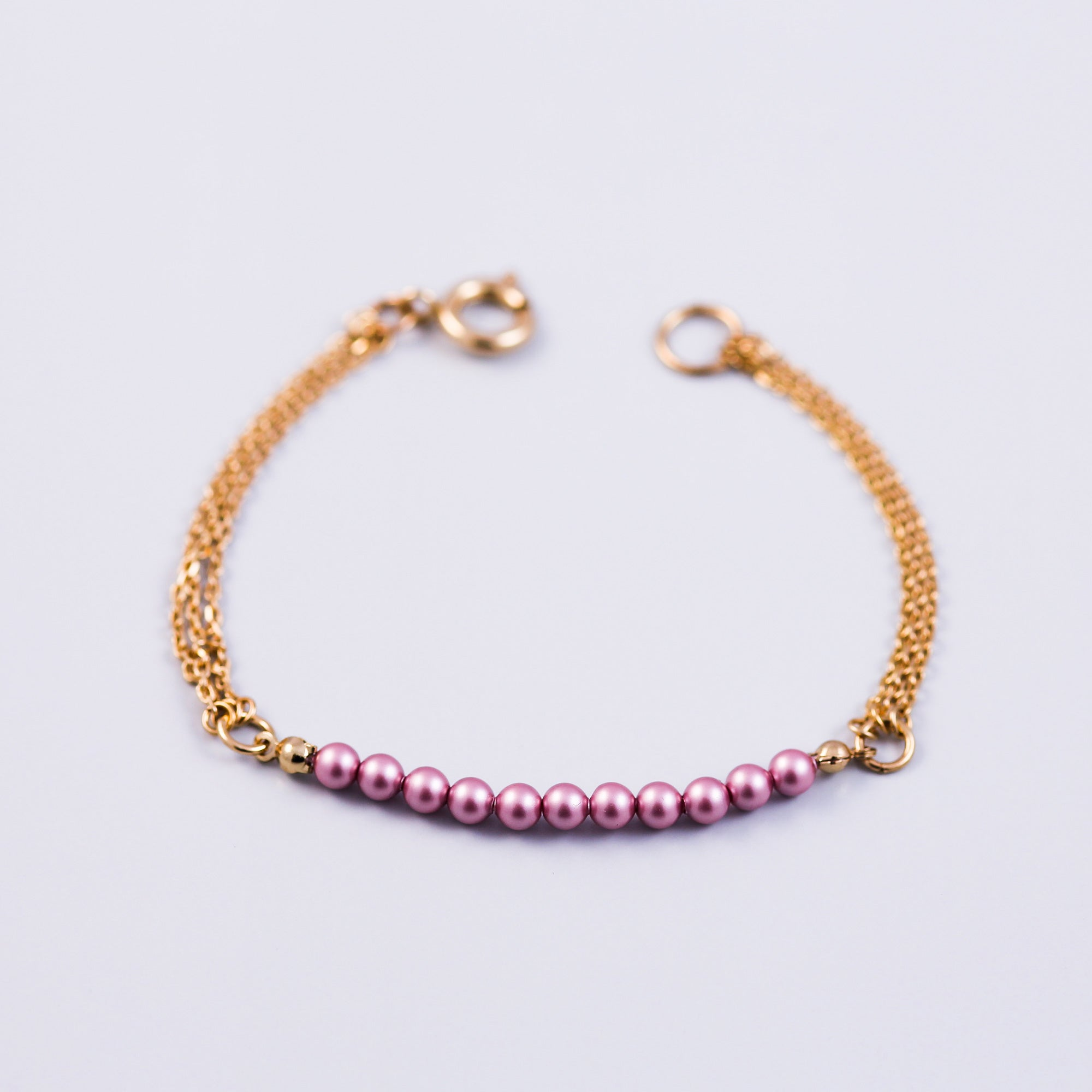 Pearl Bead Bracelet Gold & Crystal Powder