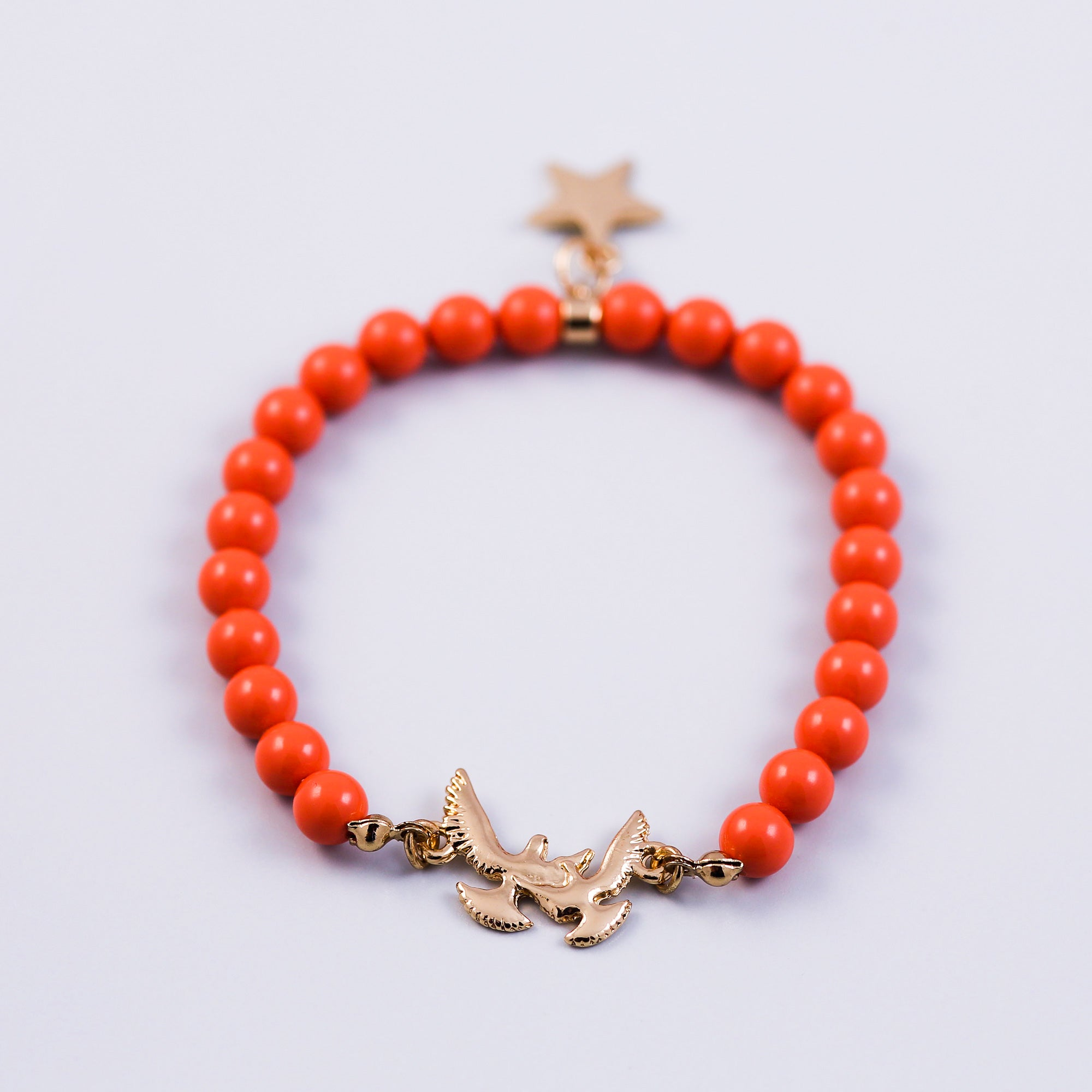 Pearl Bracelet with Bird Detail | Cute Friendship Bracelets | Friendship Jewellery | Gold & Coral