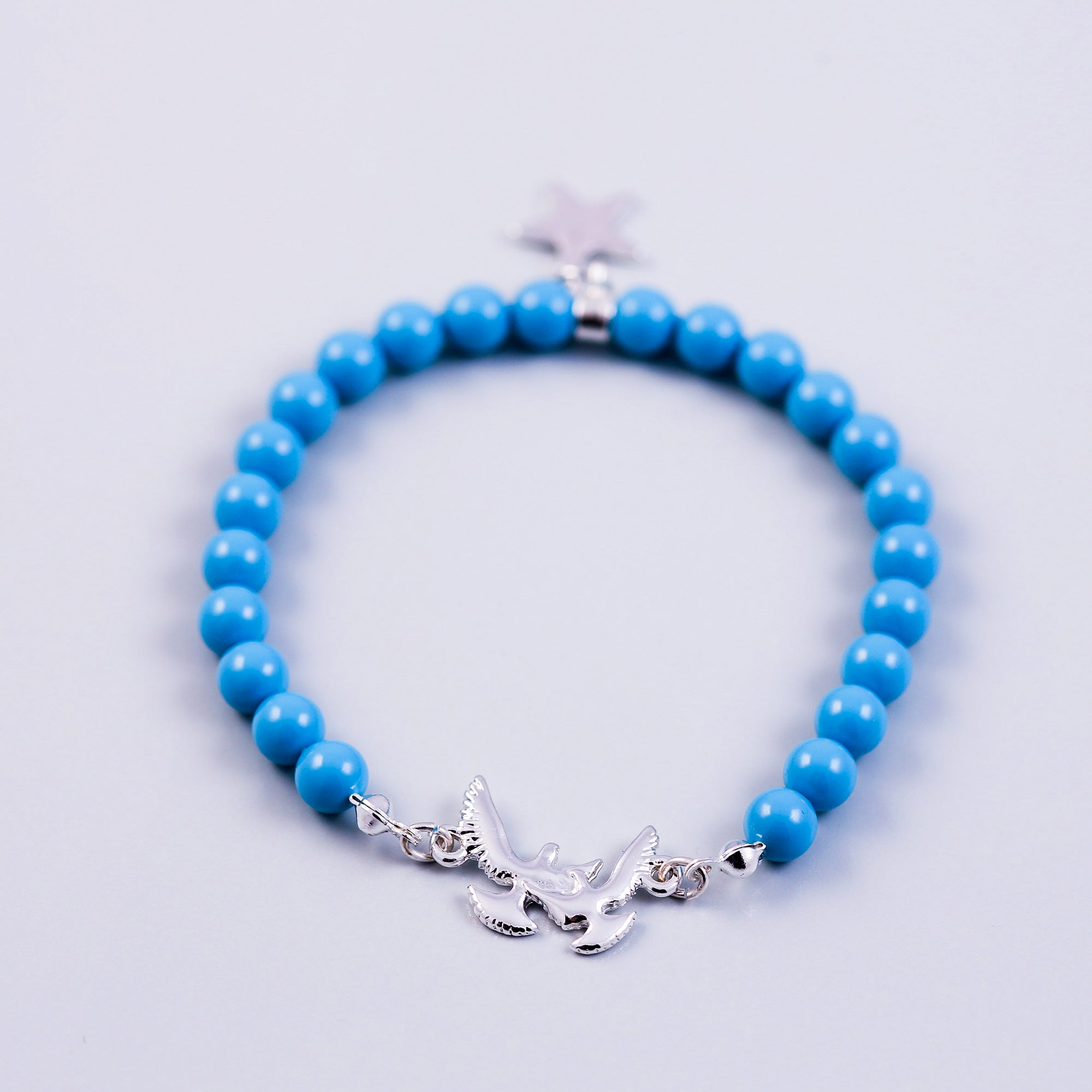 Pearl Bracelet with Bird Detail | Cute Friendship Bracelets | Friendship Jewellery | Silver & Turquoise