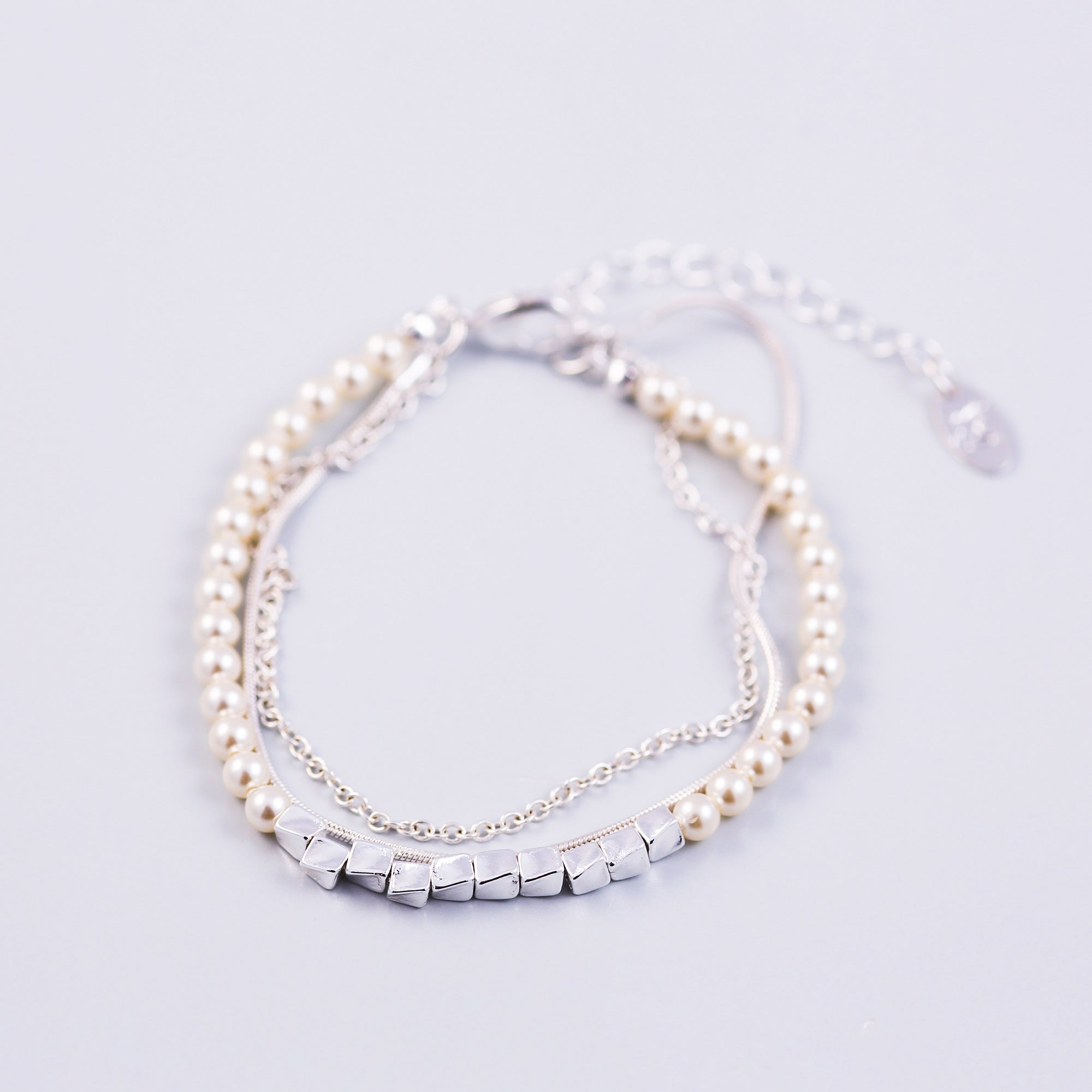 Three Chain Pearl Bracelet Silver & Cream