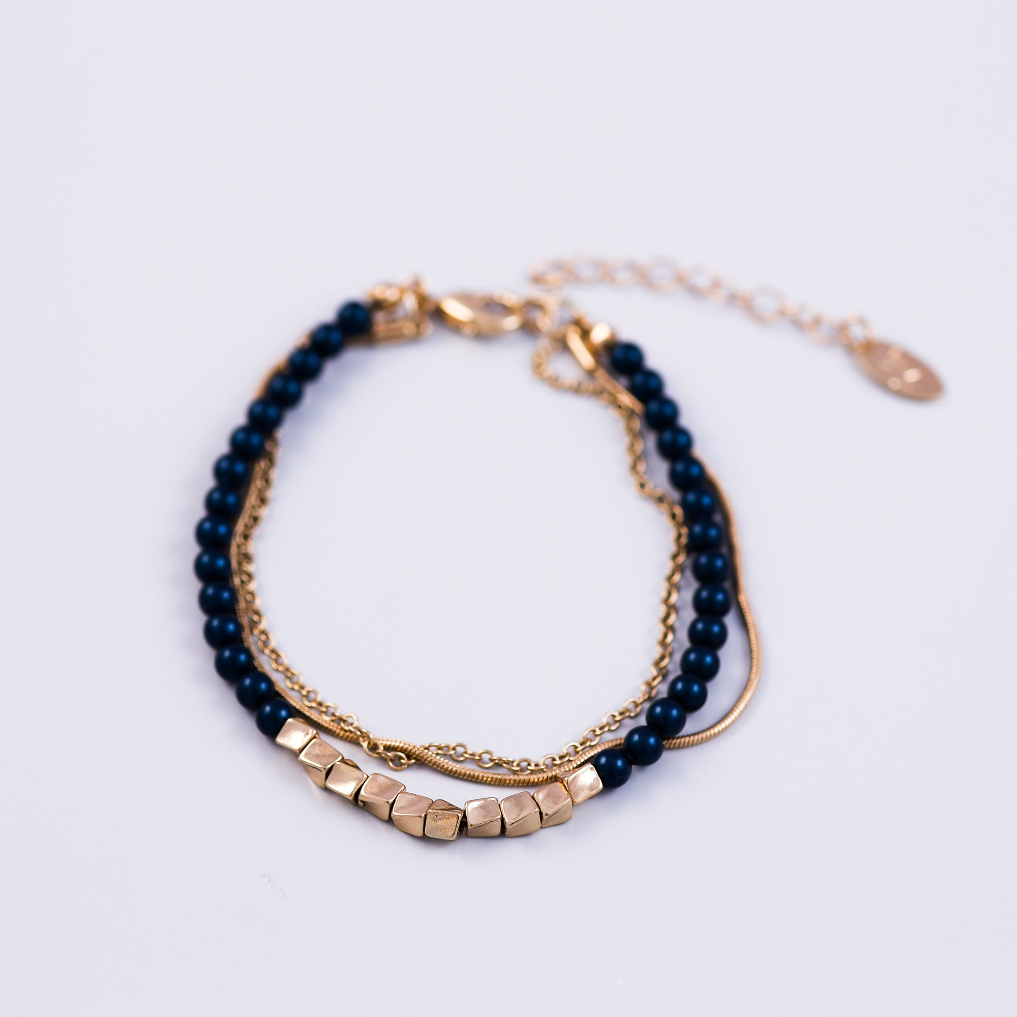 Three Chain Pearl Bracelet Gold & Petrol