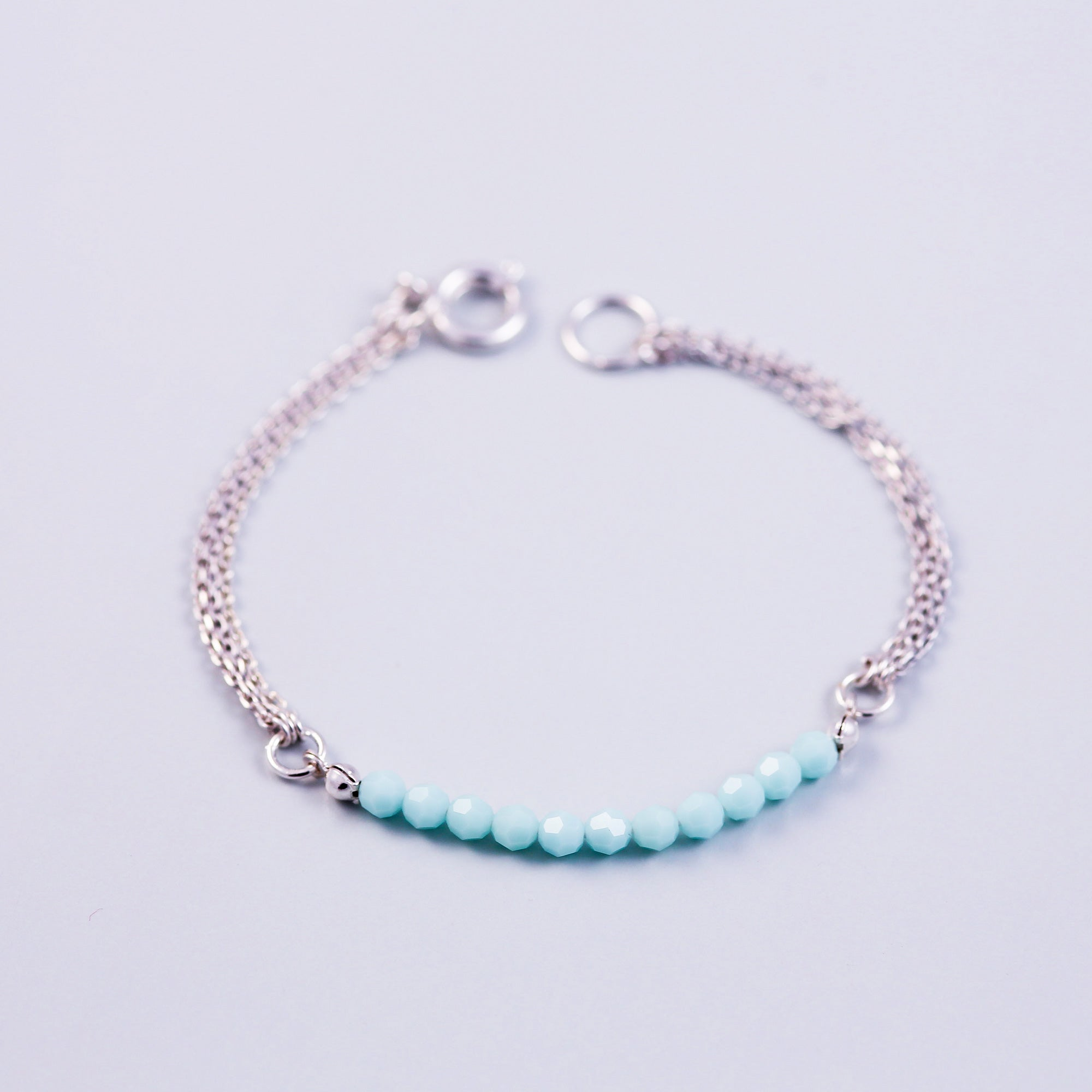 Beaded Bracelet | Cute Friendship Bracelets | Friendship Jewellery | Silver & Mint Alabaster