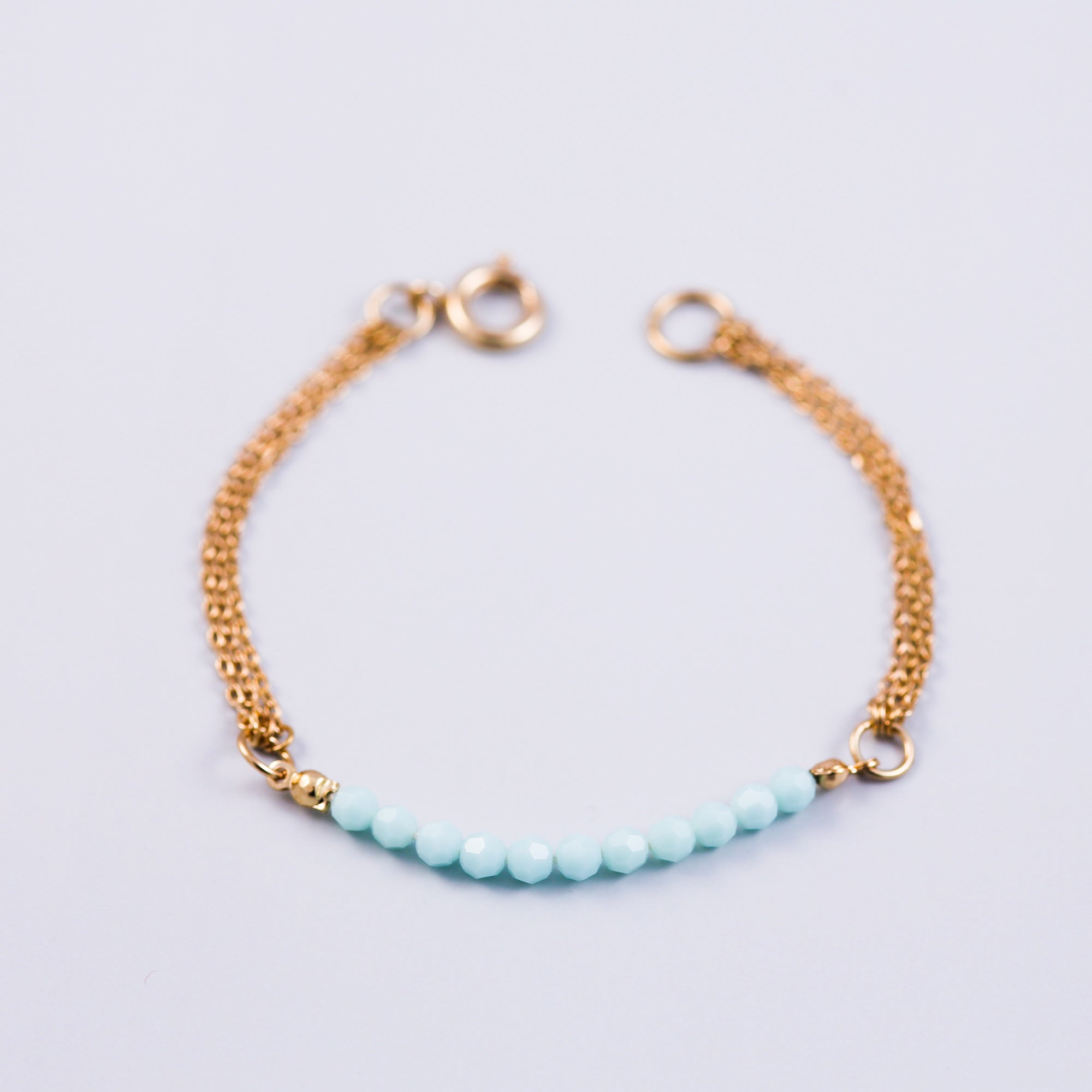 Crystal Bead Bracelet Gold & Mint Alabaster