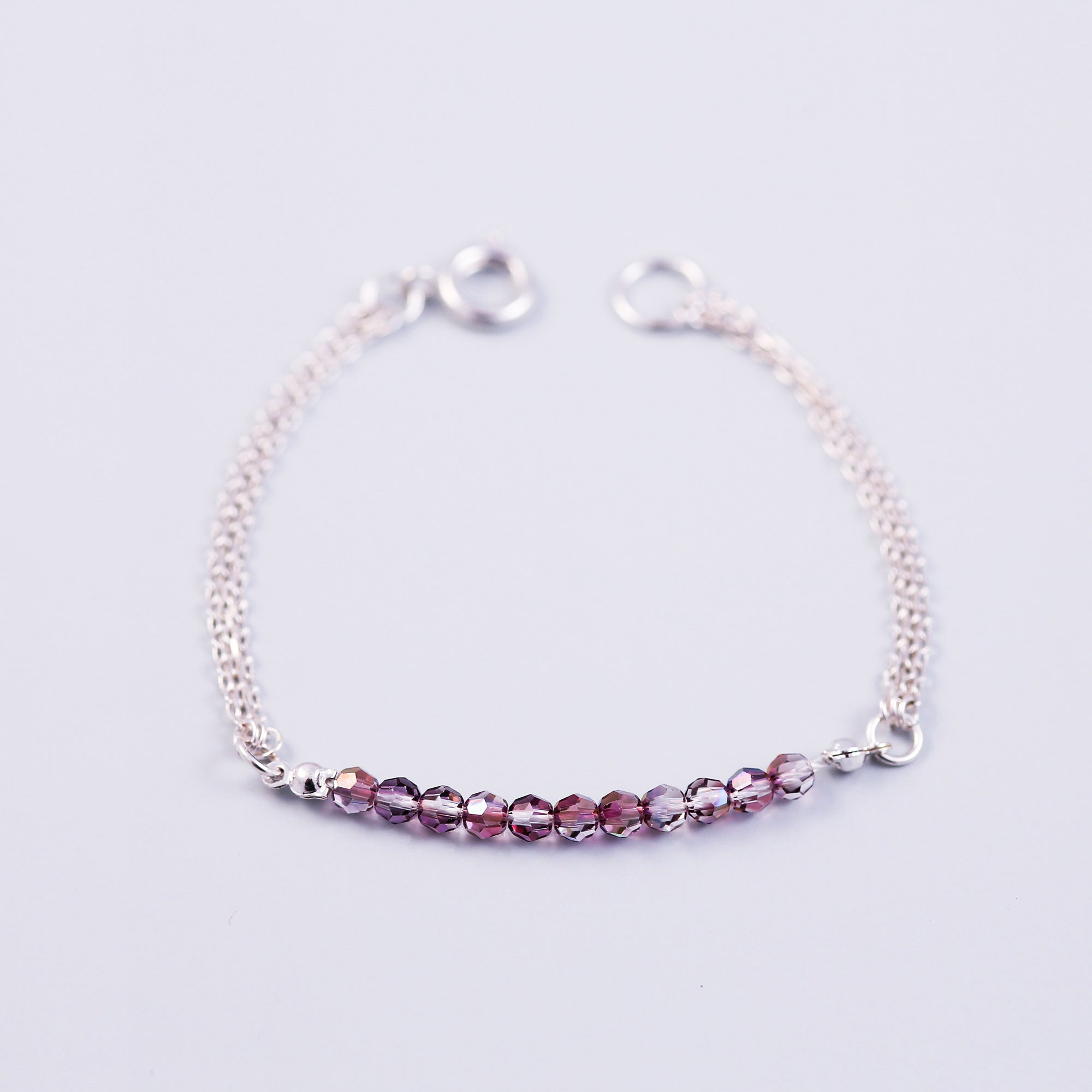 Beaded Bracelet | Cute Friendship Bracelets | Friendship Jewellery | Silver & Crystal Lilac Shadow