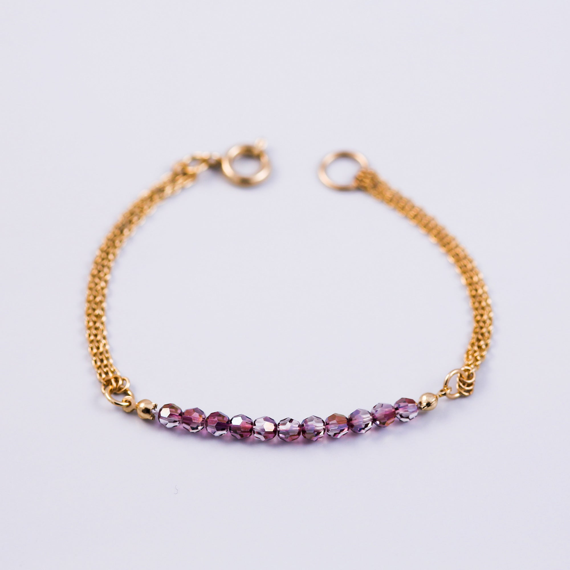 Beaded Bracelet | Friendship Bracelets | Gold & Crystal Lilac Shadow