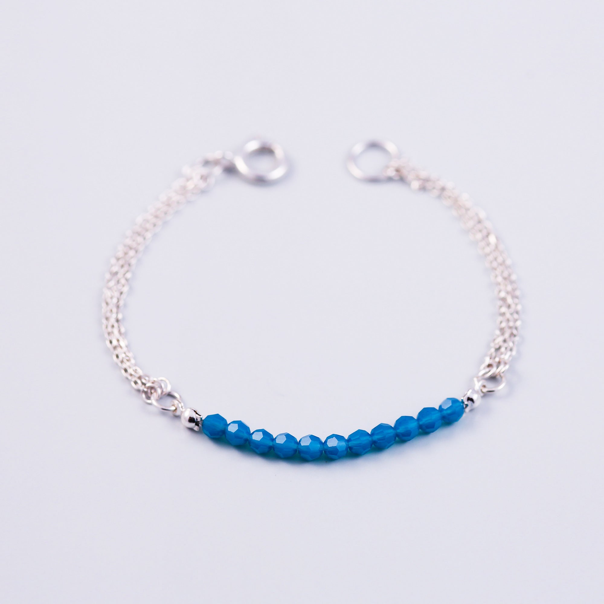 Silver & Caribbean Blue Opal Frienship BraceletBeaded Bracelet | Cute Friendship Bracelets | Friendship Jewellery | Silver & Car