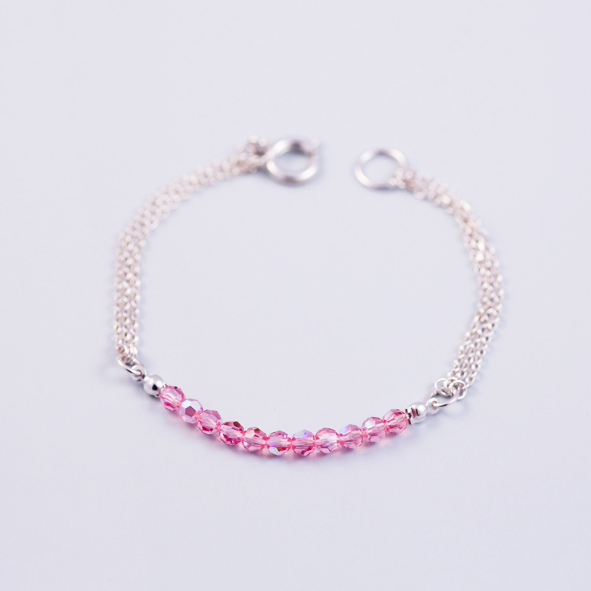 Beaded Bracelet | Cute Friendship Bracelets | Friendship Jewellery | Silver & Crystal Pink