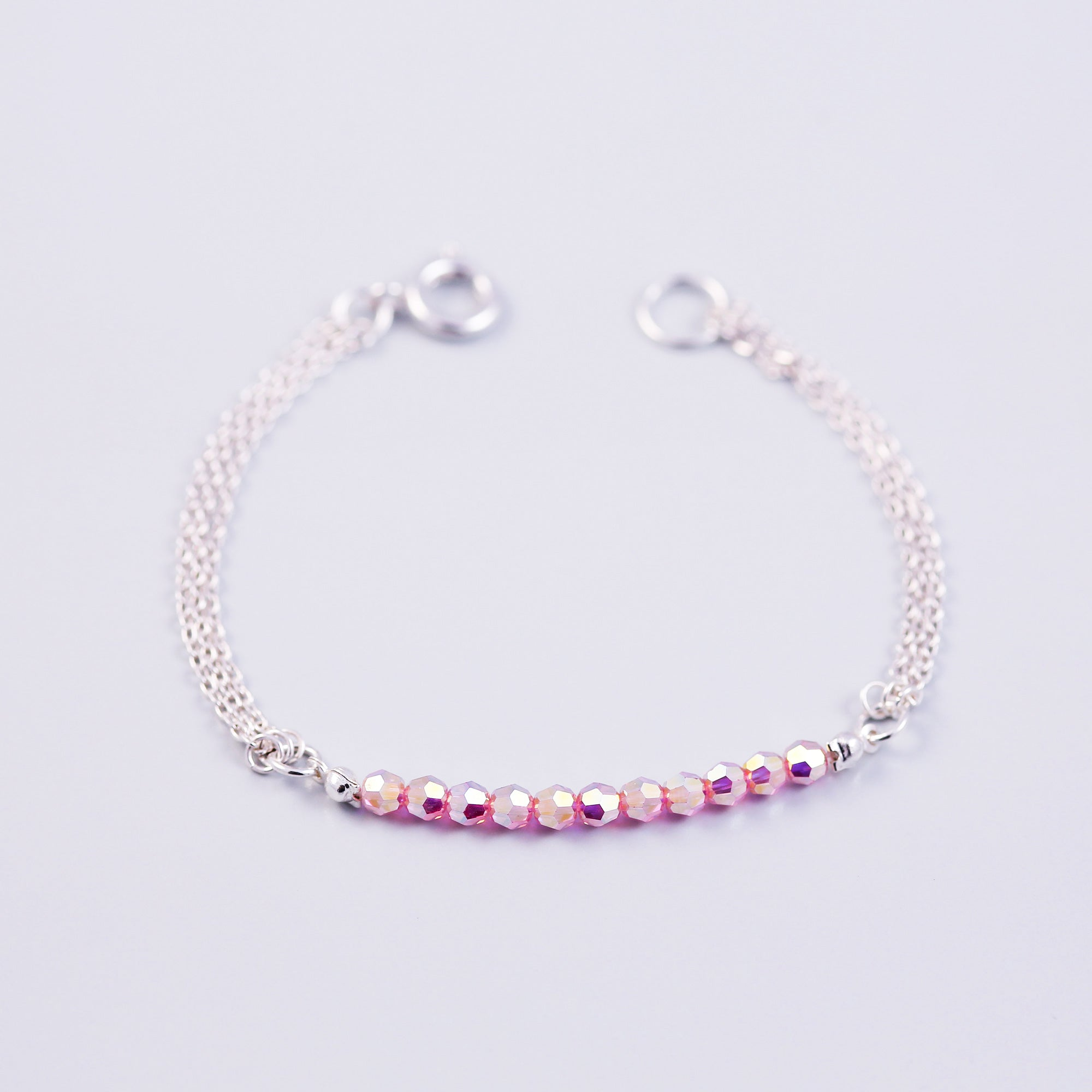 Beaded Bracelet | Cute Friendship Bracelets | Friendship Jewellery | Silver & Light Rose AB