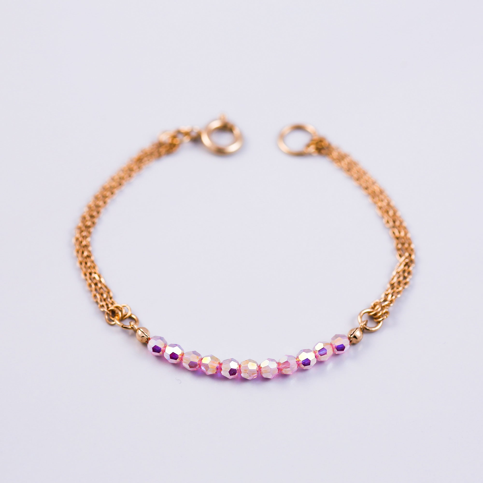 Crystal Bead Bracelet Gold & Light Rose AB