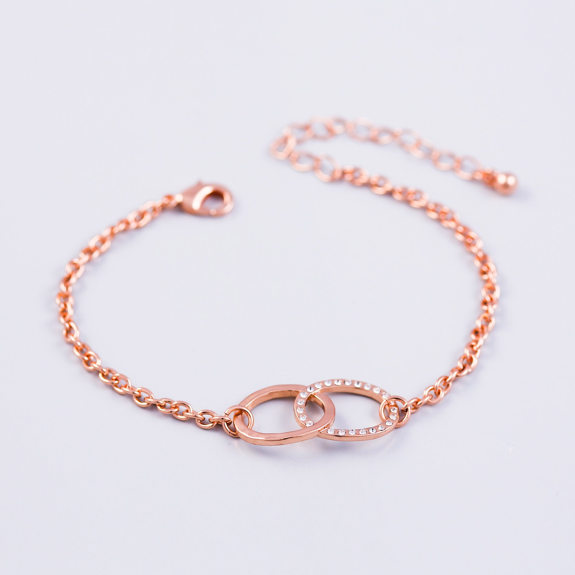 Rose Gold & Crystal Bridal Infinity Bracelet