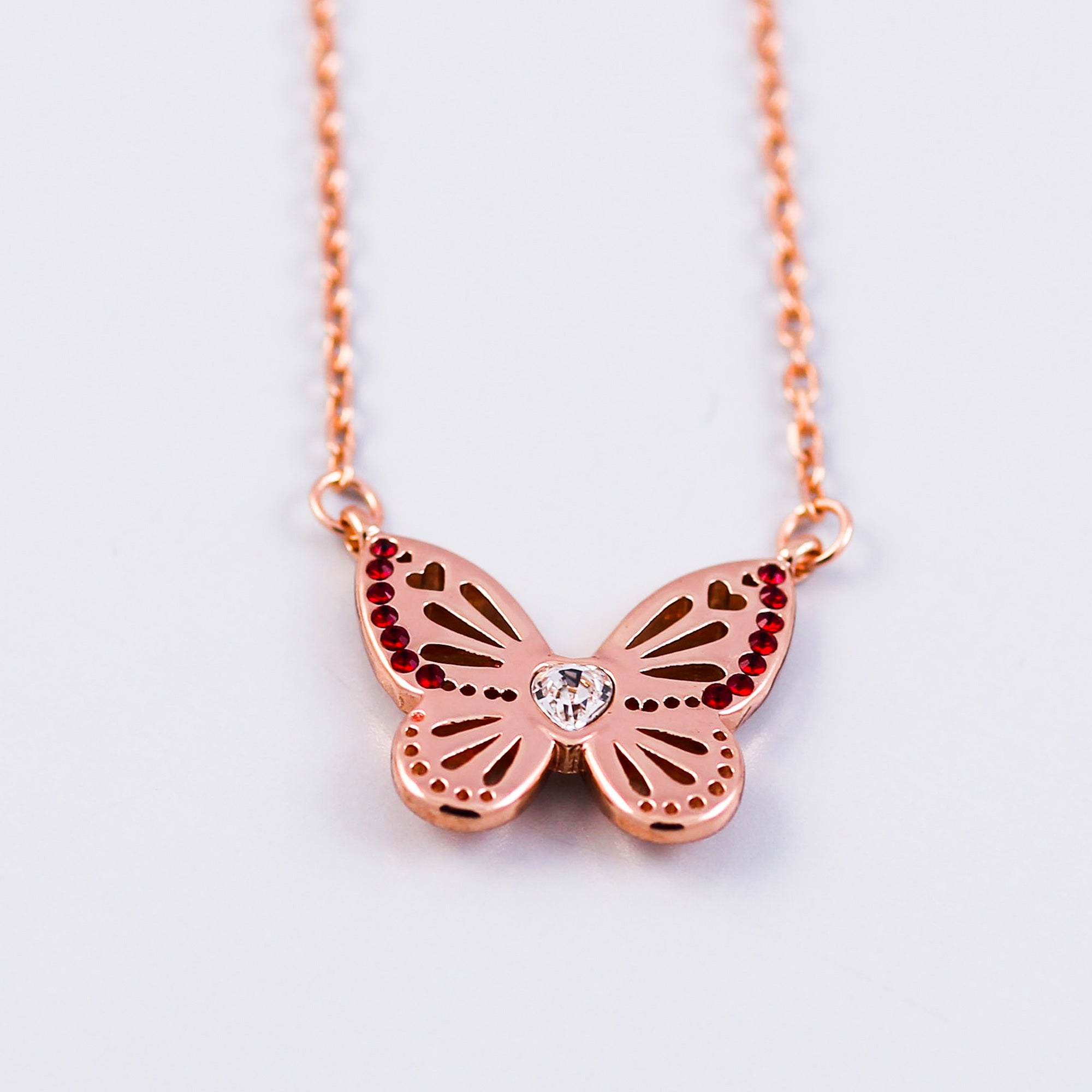 Rose Gold Siam January Birthstone Butterfly Necklace