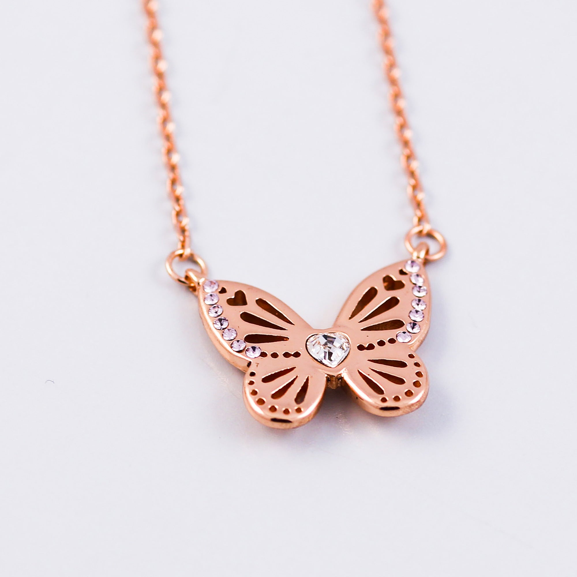 Rose Gold Light Amethyst June Birthstone Butterfly Necklace