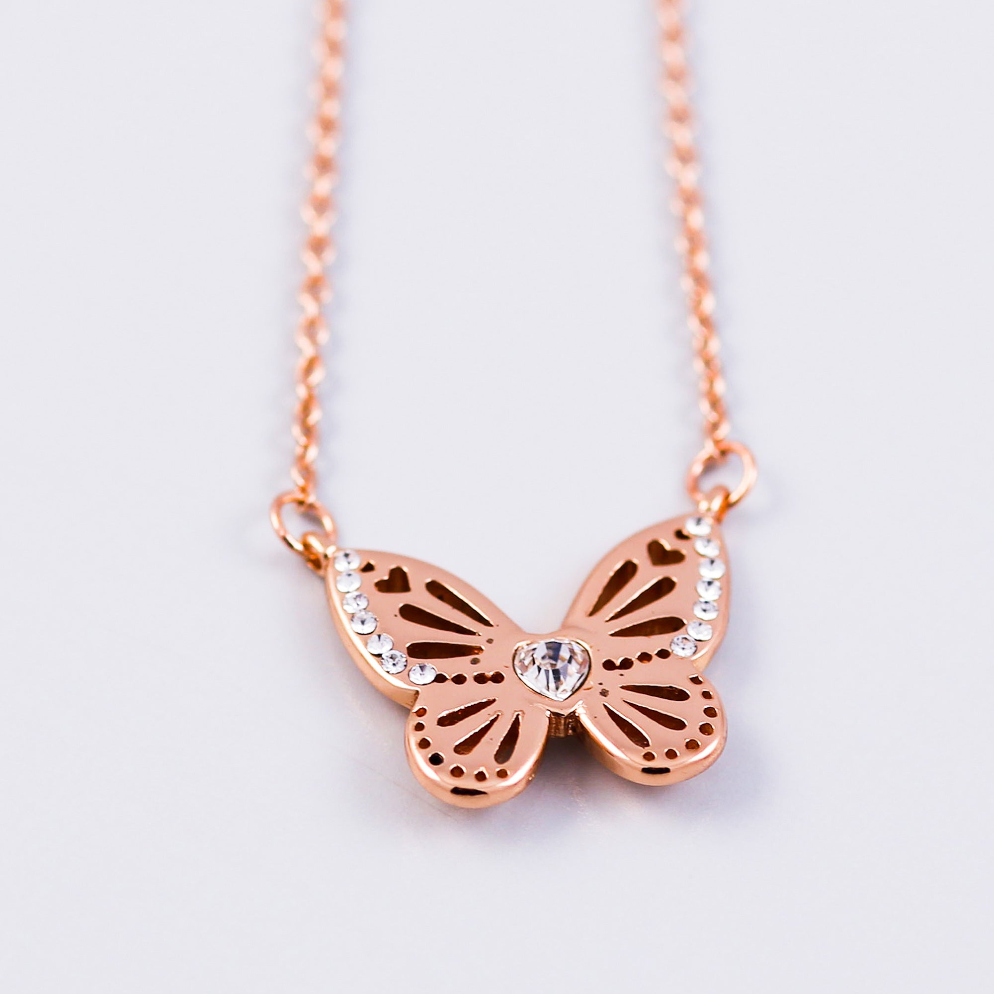 Rose Gold April Birthstone Butterfly Necklace