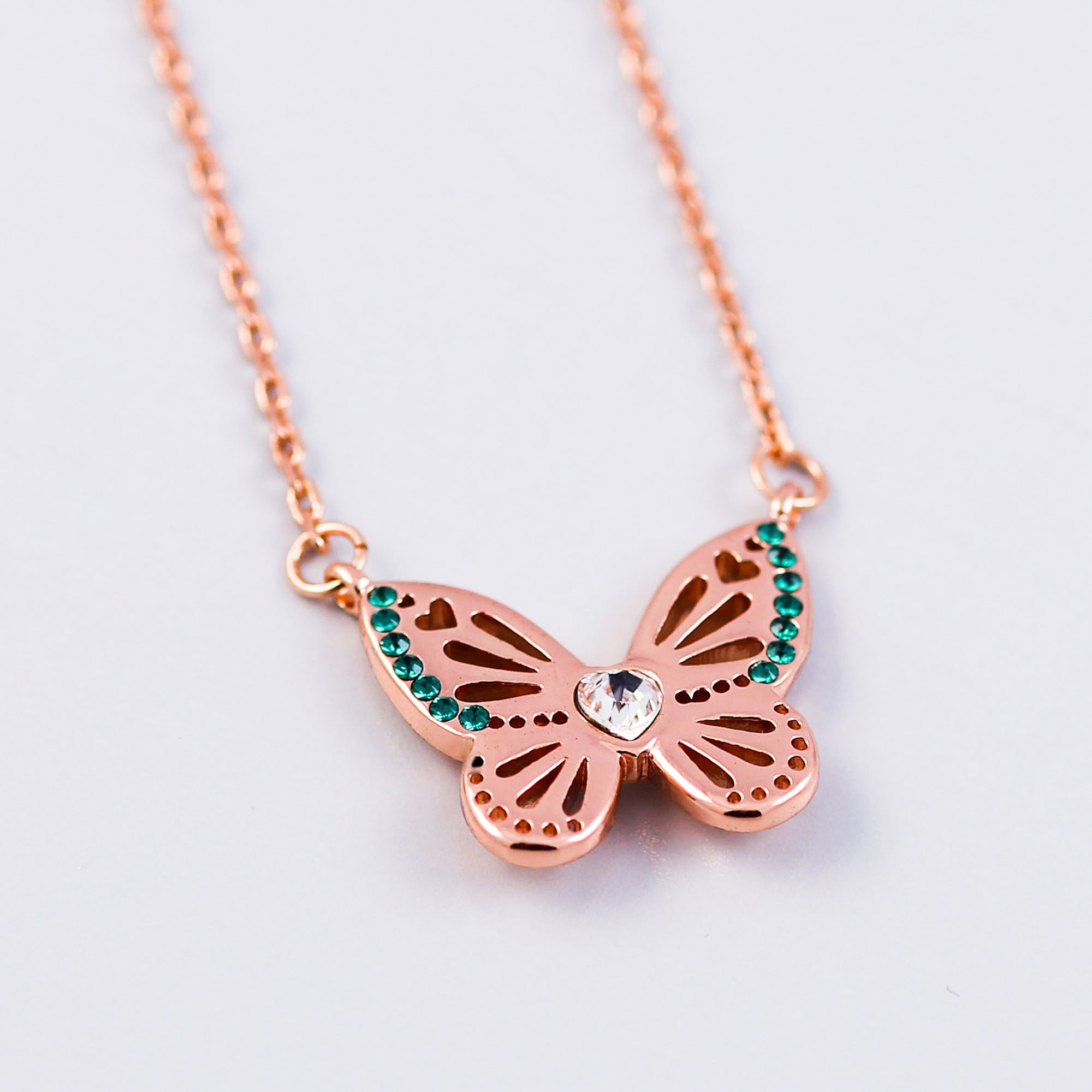 Rose Gold Emerald May Birthstone Butterfly Necklace
