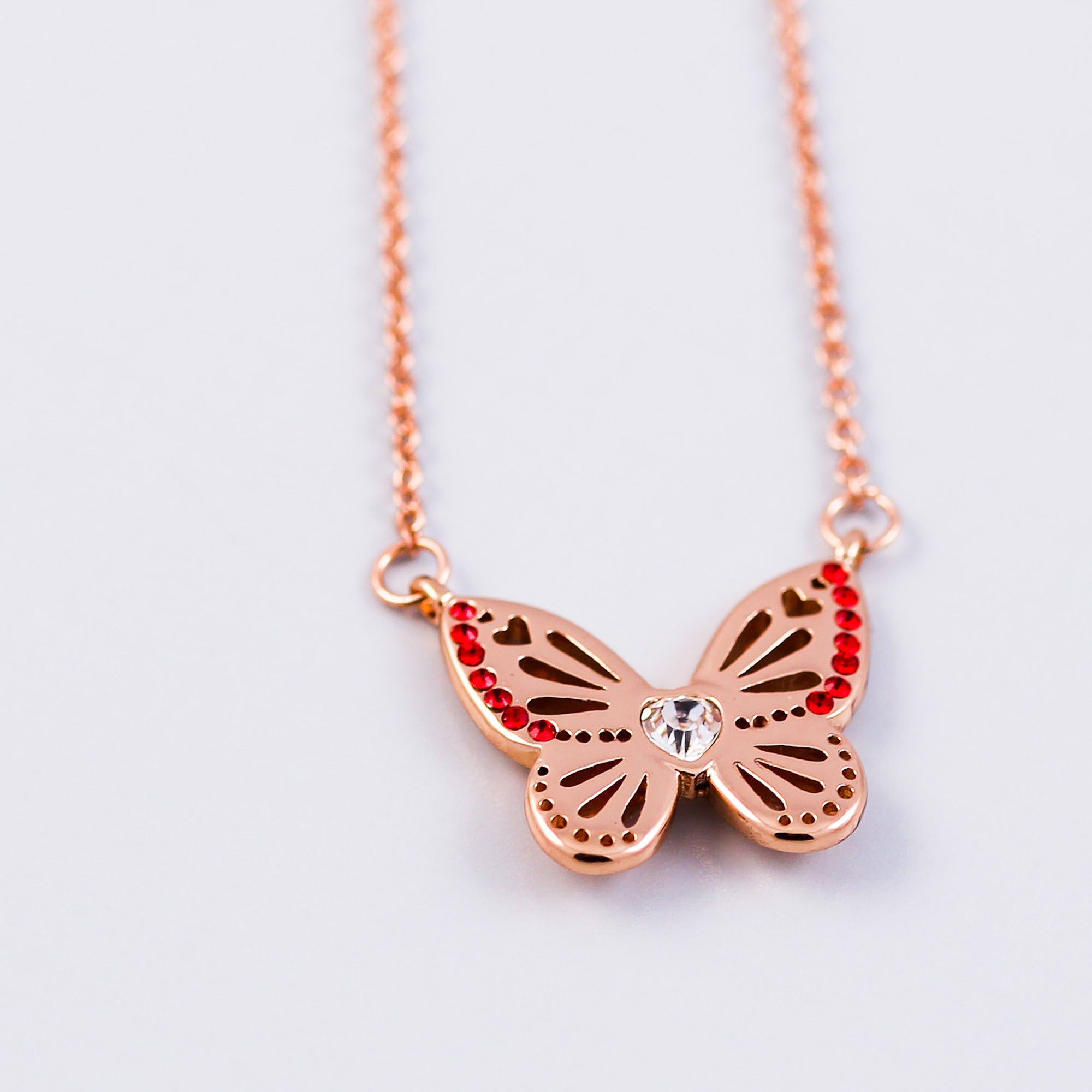 Rose Gold Ruby July Birthstone Butterfly Necklace