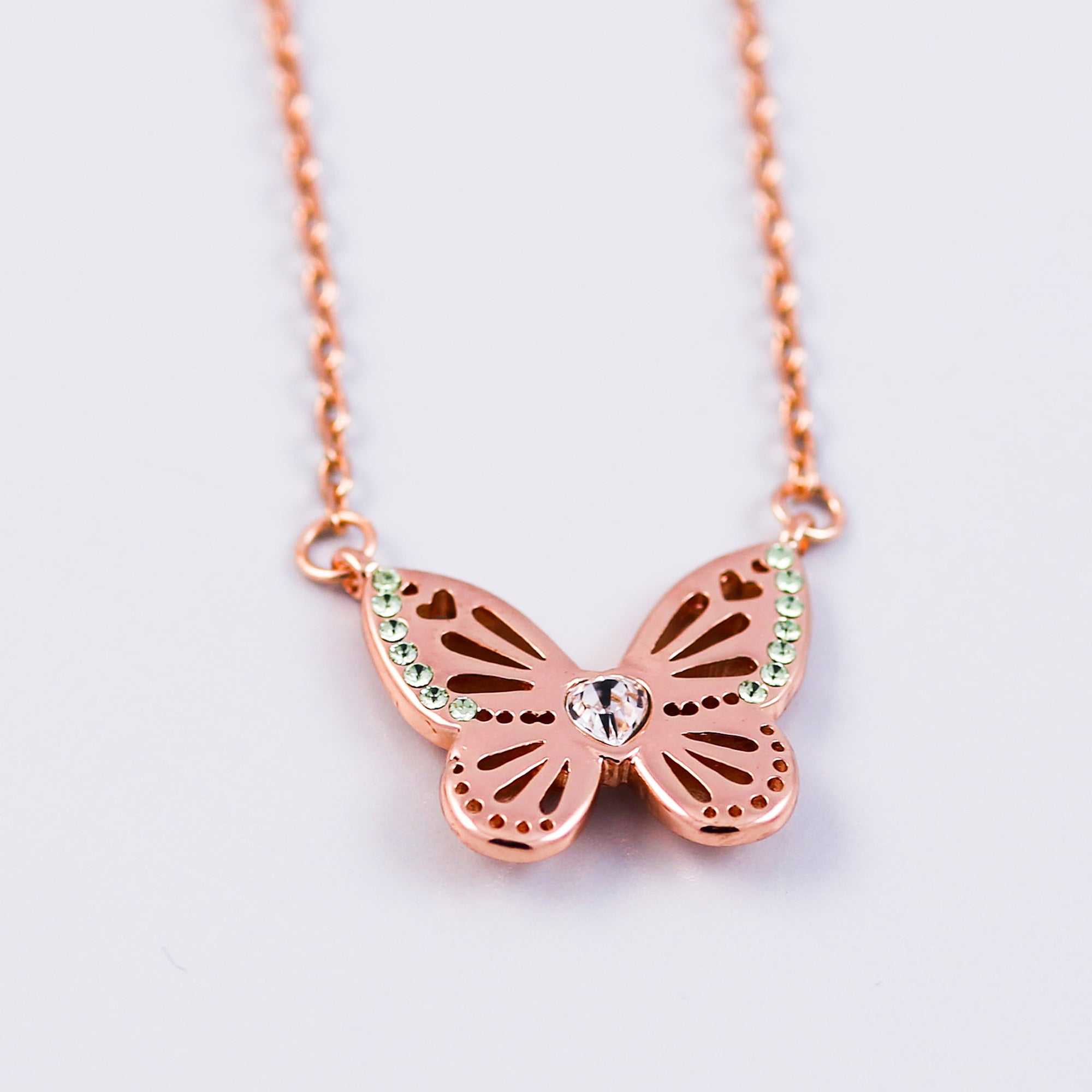 Rose Gold Peridot August Birthstone Butterfly Necklace