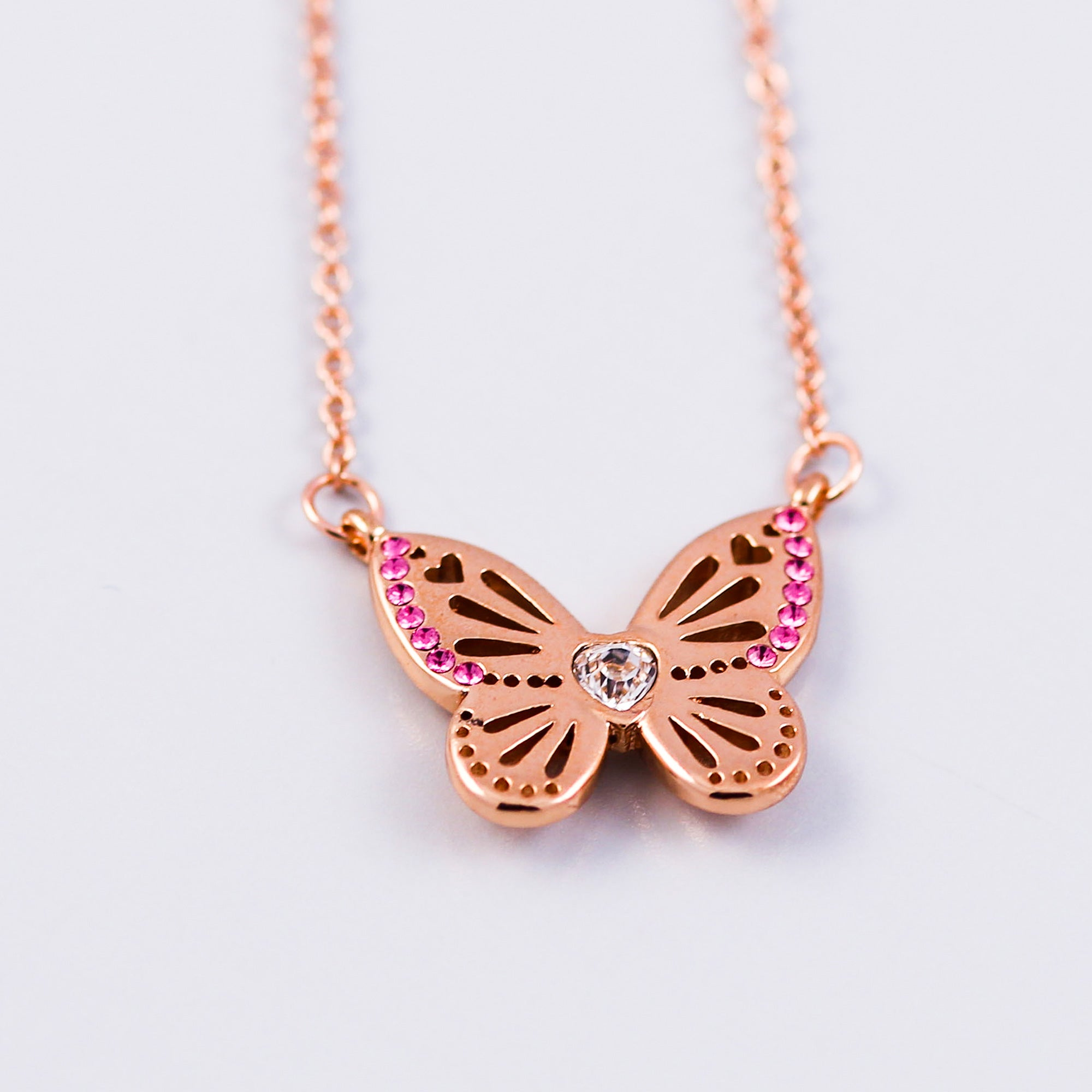 Rose Gold Rose October Birthstone Butterfly Necklace