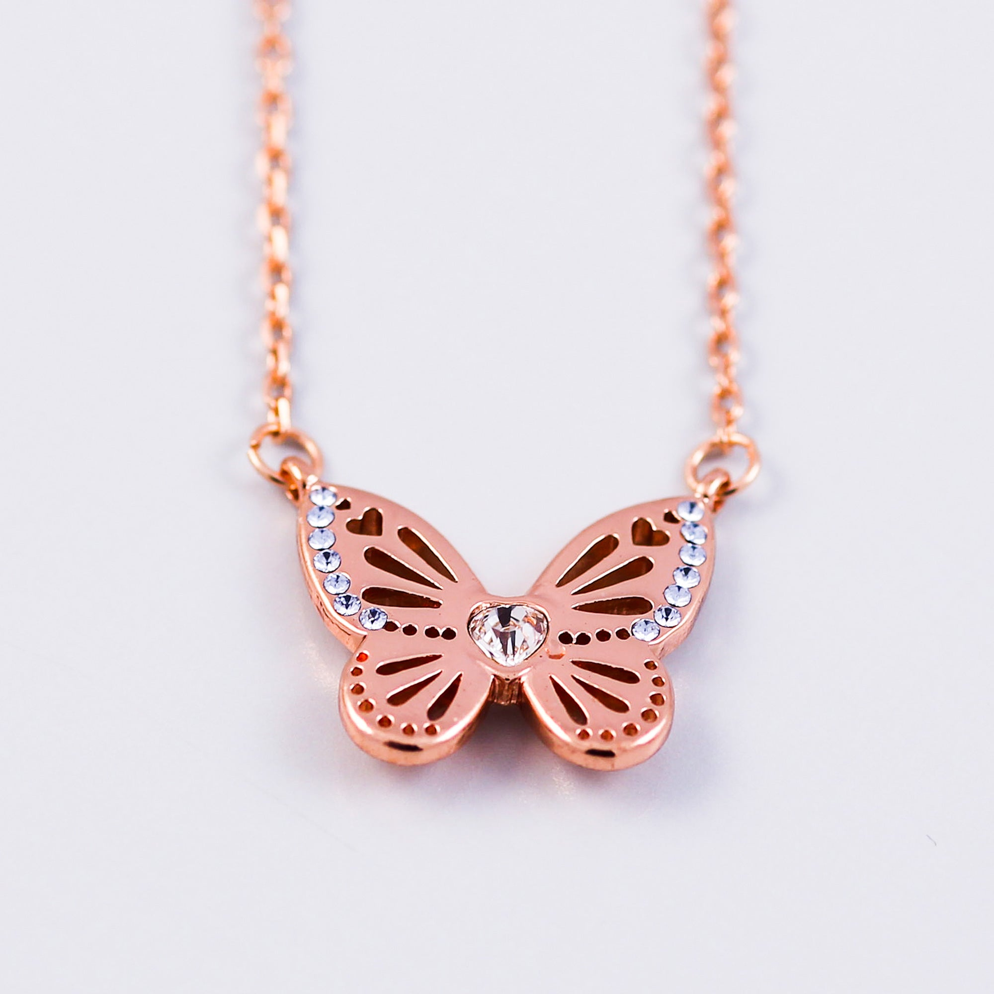Rose Gold Light Sapphire December Birthstone Butterfly Necklace