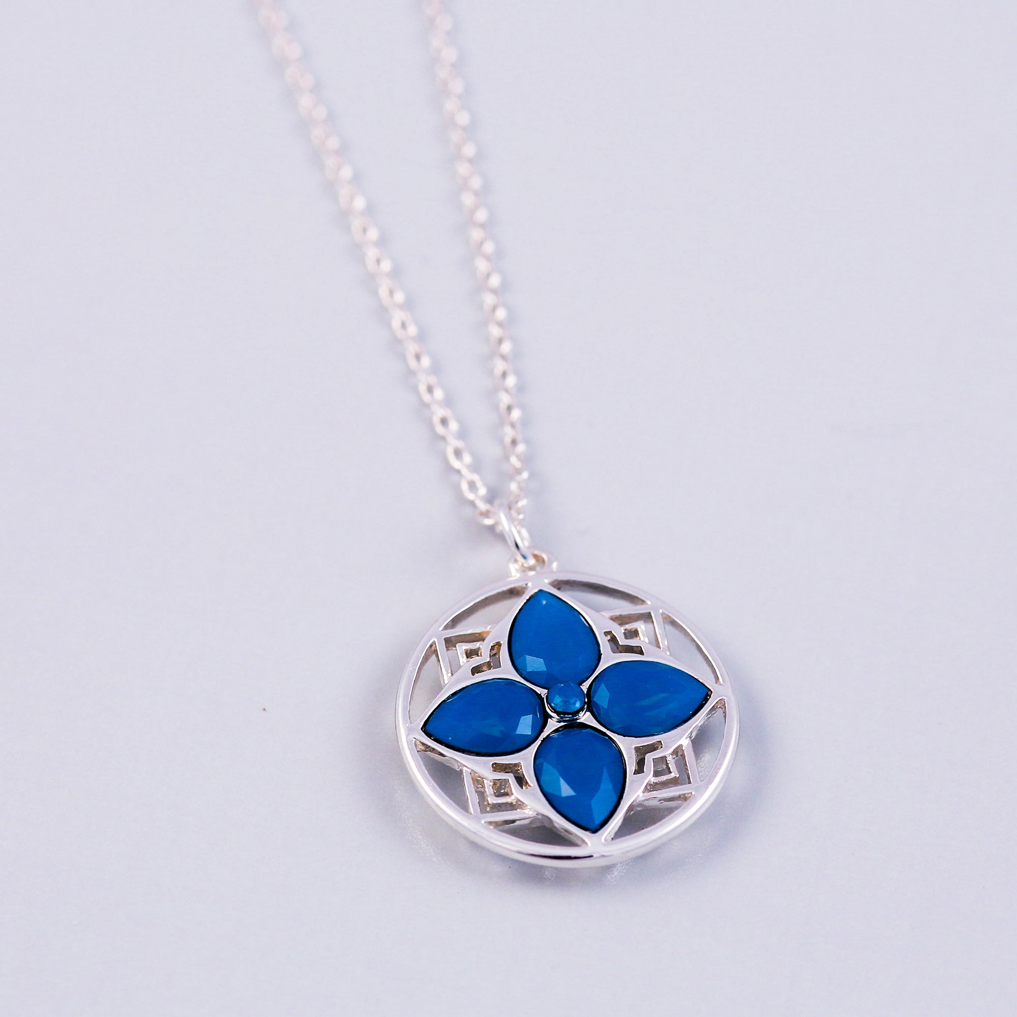 Arabesque Four Petal Flower Necklace | Silver & Caribbean Blue Opal