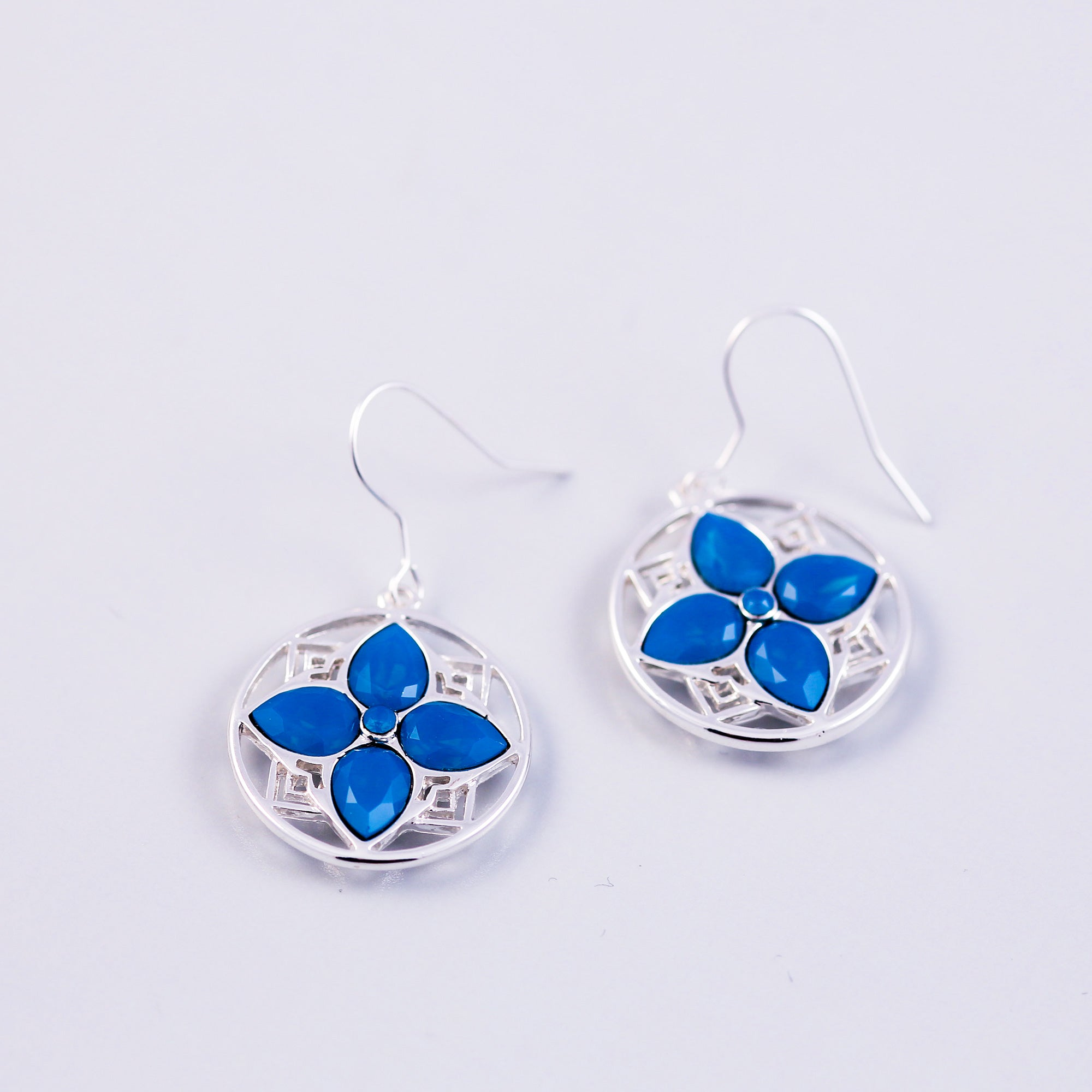 Silver & Caribbean Opal Blue Four Petal Flower Drop Earrings