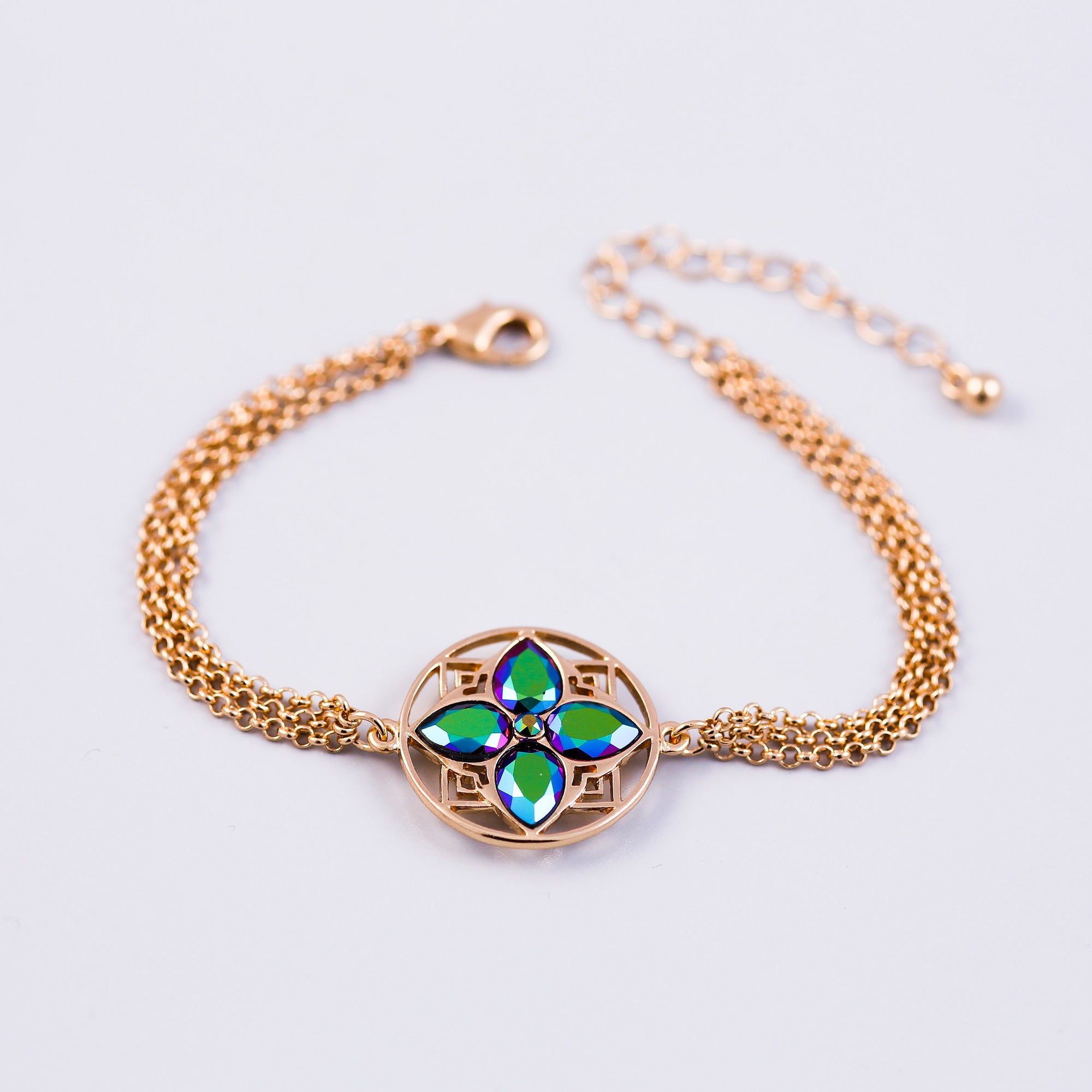 Gold & Scarabaeus Green Four Petal Flower Bracelet