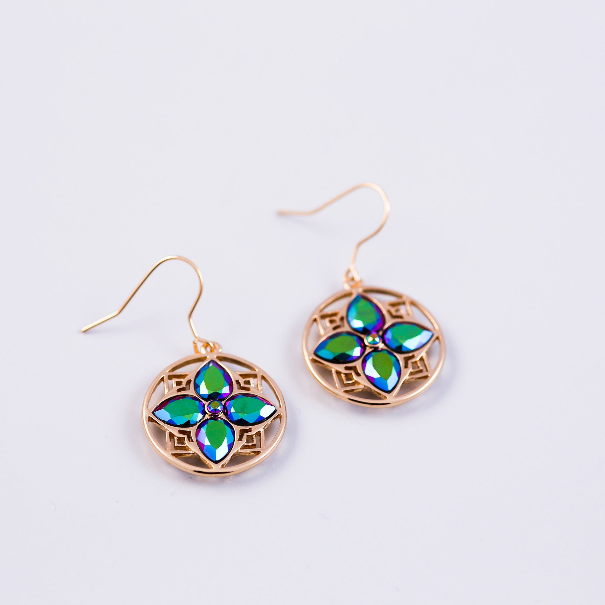 Gold & Scarabaeus Green Four Petal Flower Drop Earrings