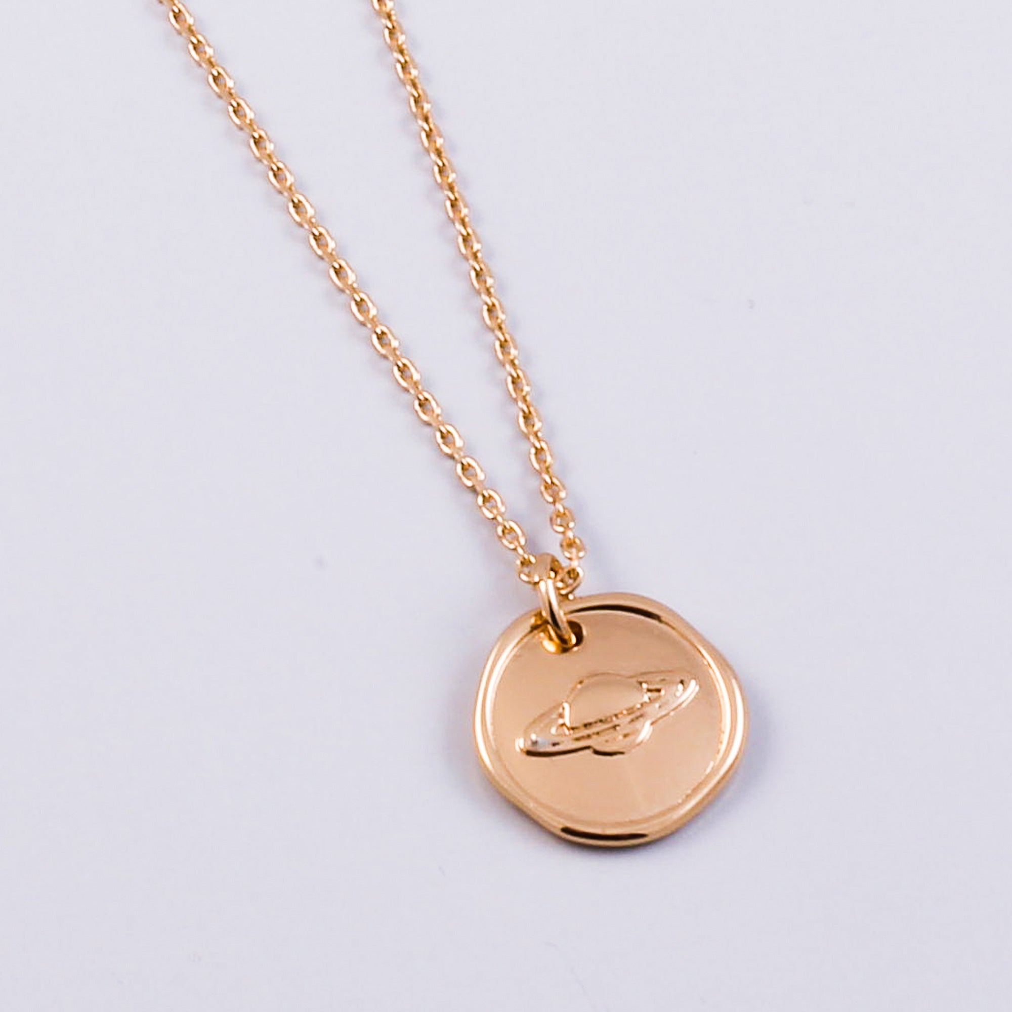 Gold Planet Wax Seal Necklace