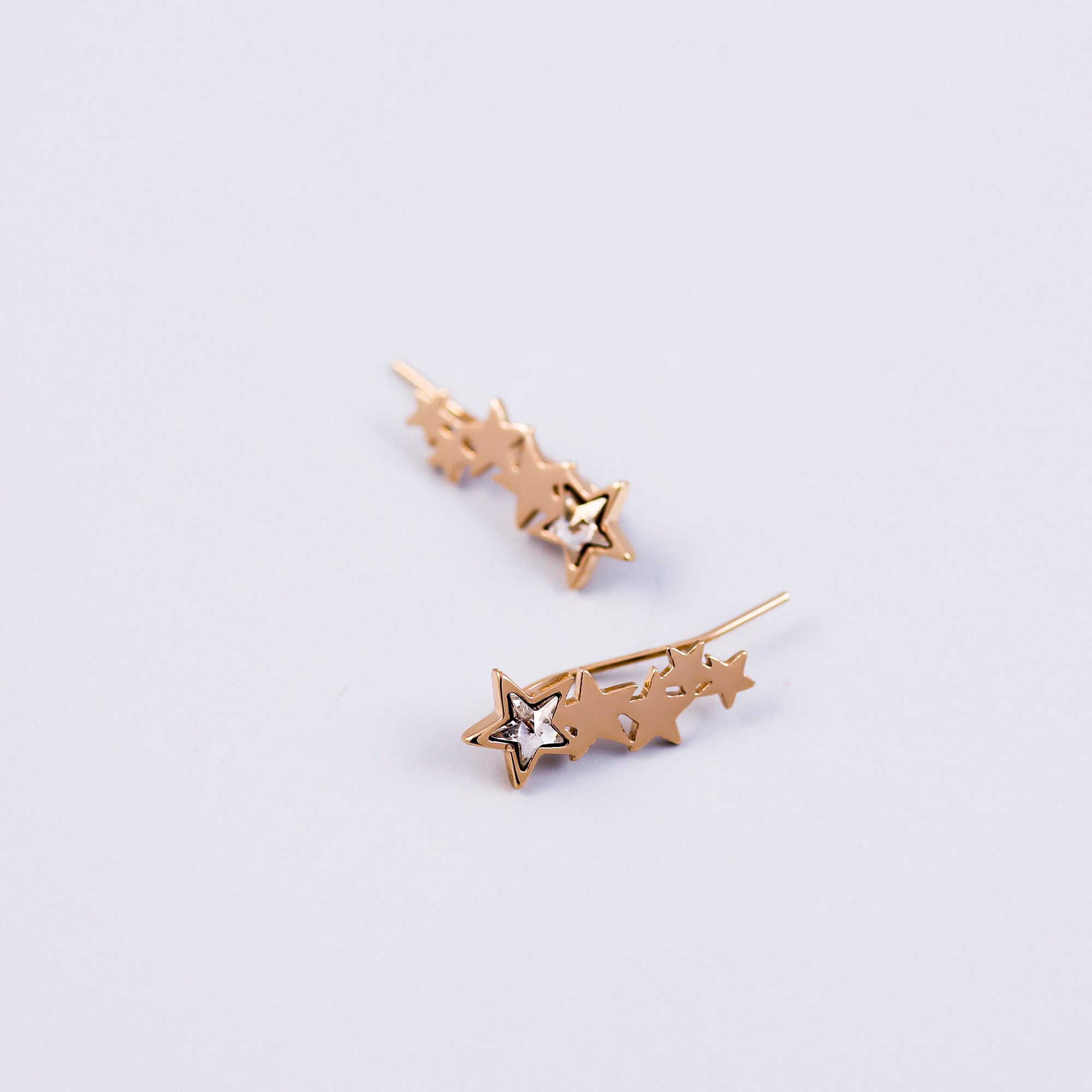 Gold & Crystal Shooting Star Ear Crawlers