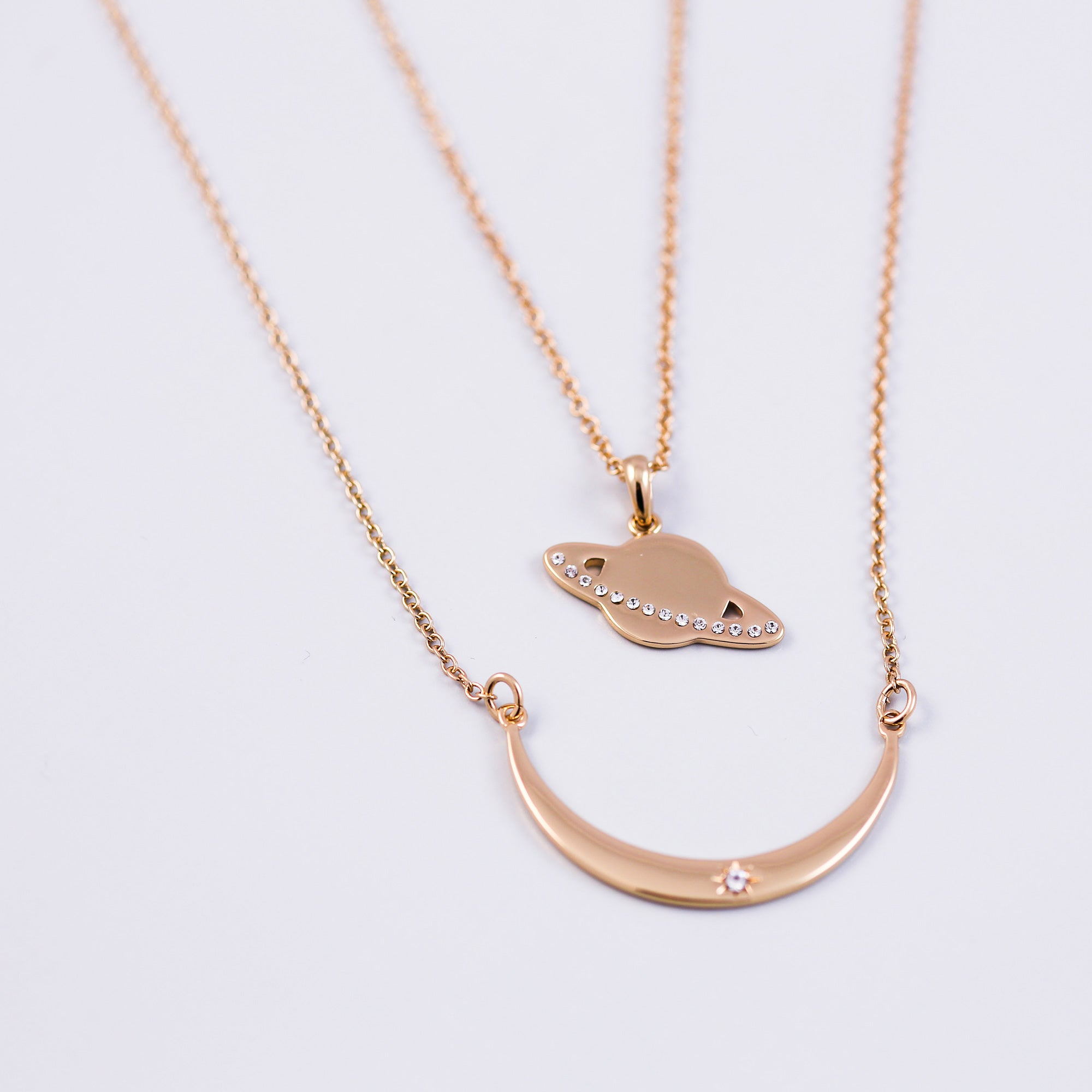 Moon and Planet Necklace | Planet Pendant | Moon Necklace | Gold Moon