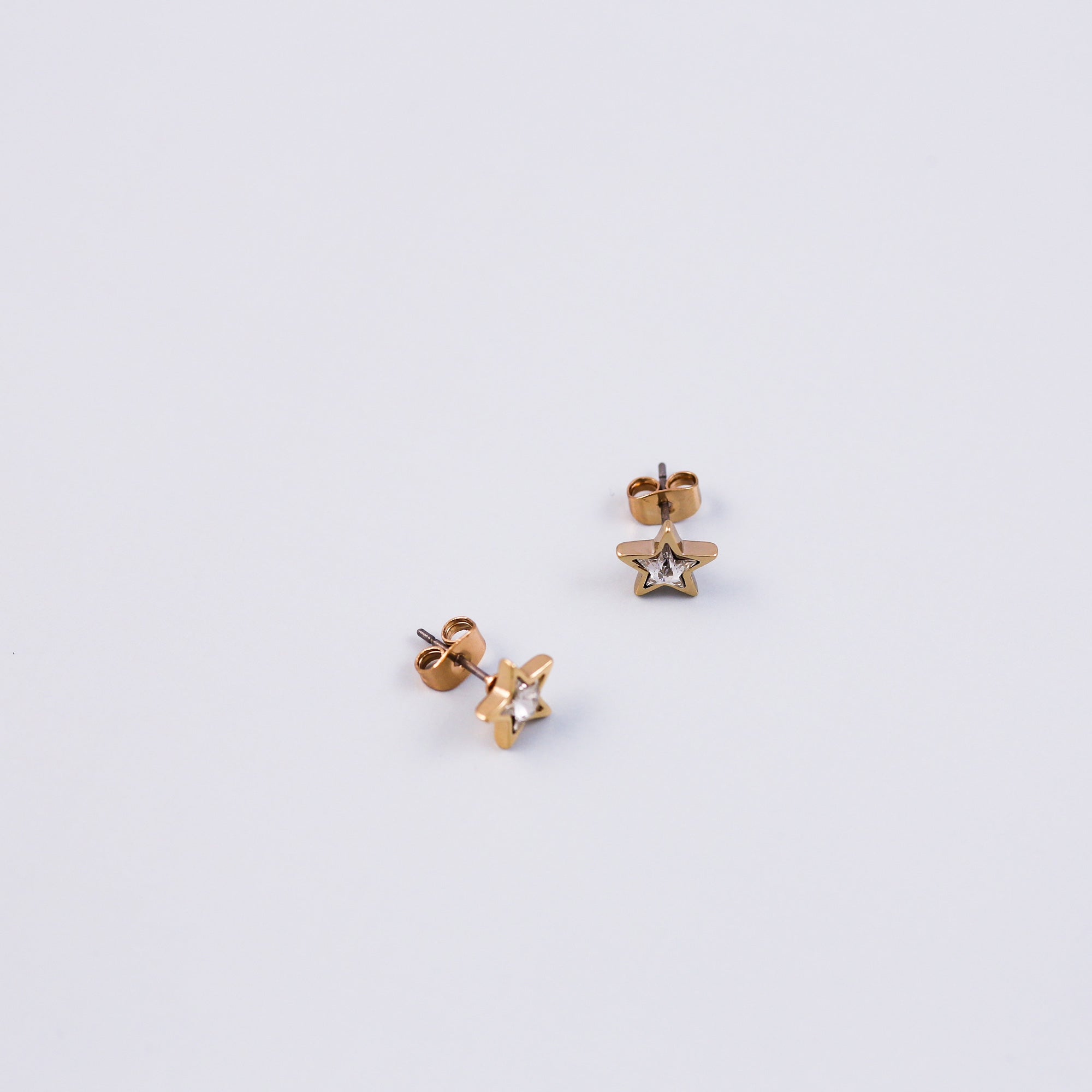 Gold & Crystal Star Stud Earrings