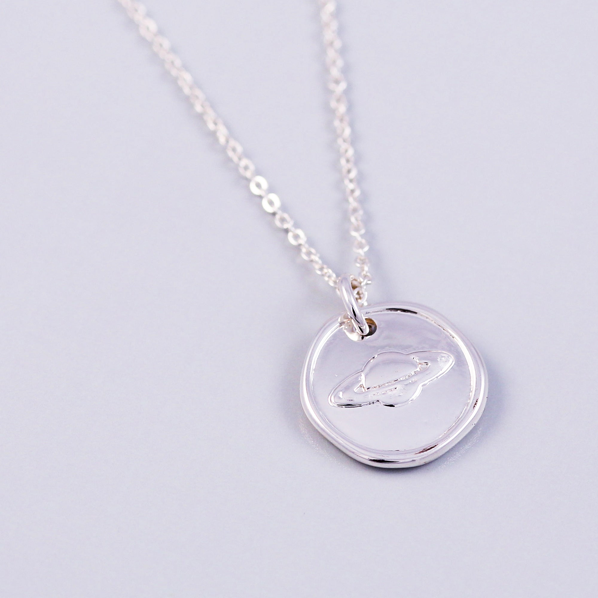 Silver Planet Wax Seal Necklace