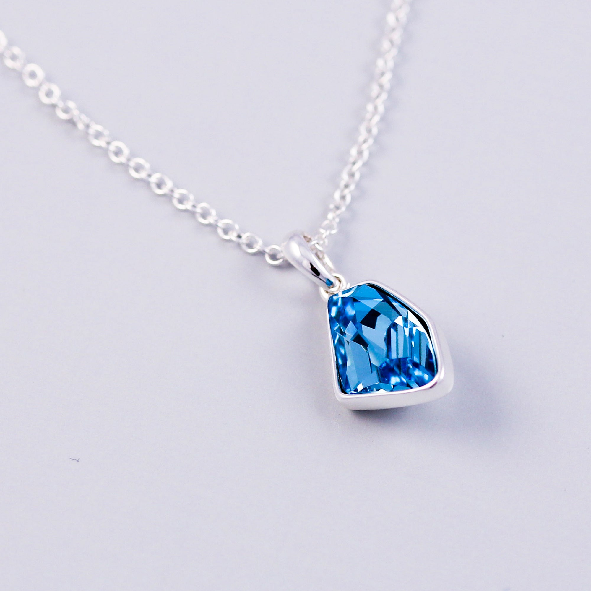 Silver & Aquamarine Crystal Asteroid Necklace