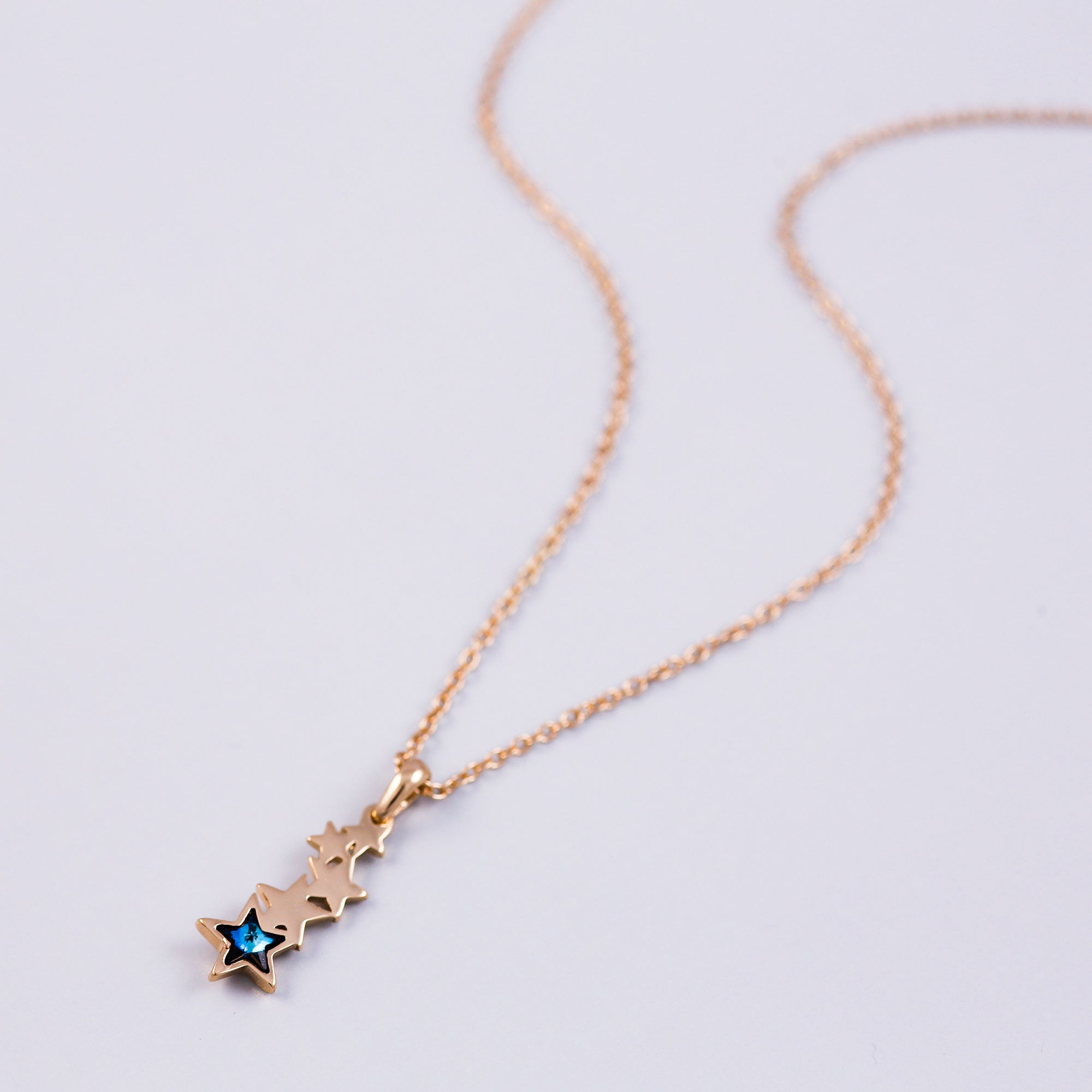 Gold & Blue Crystal Shooting Star Necklace