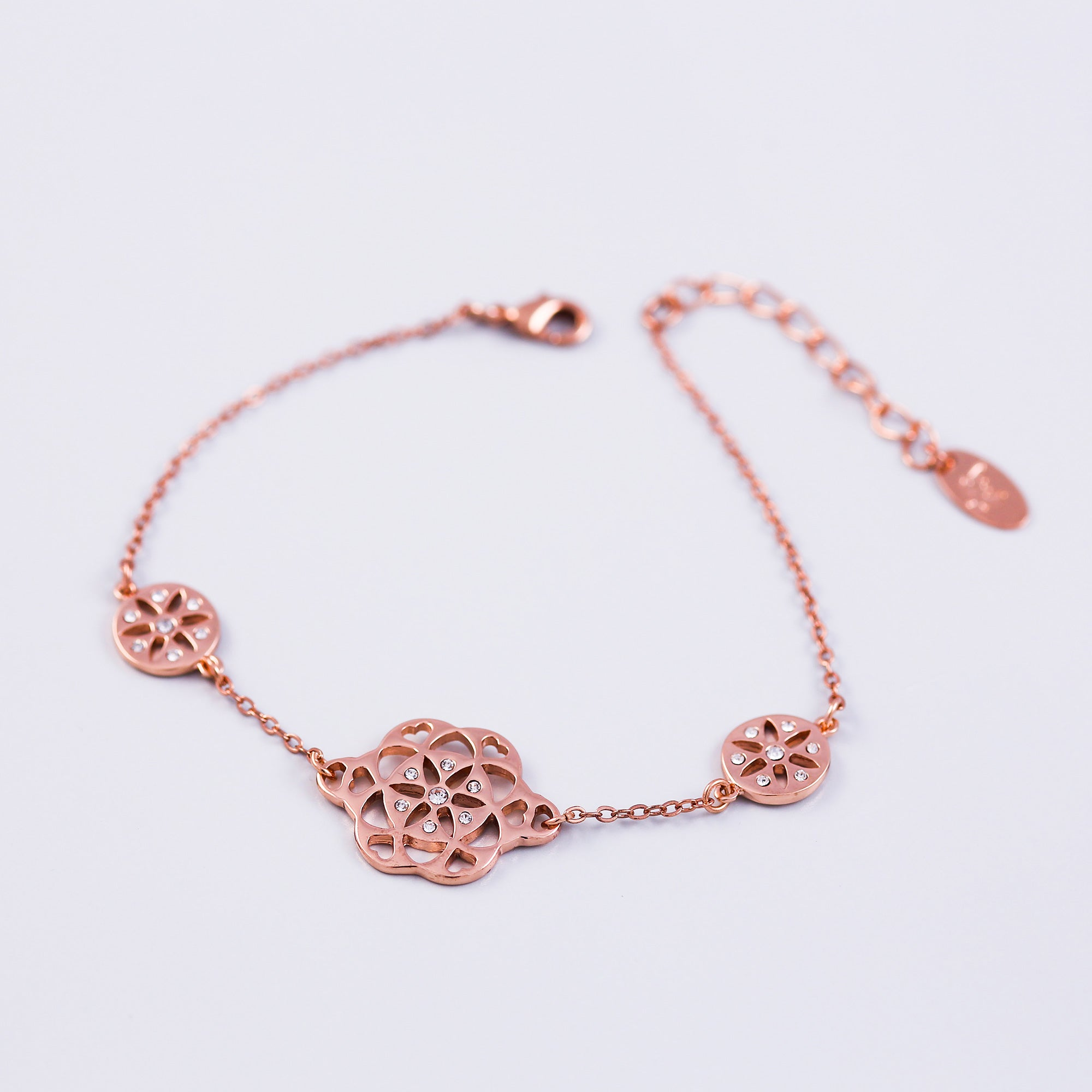 Rose Gold & Crystal Seed of Life Bracelet