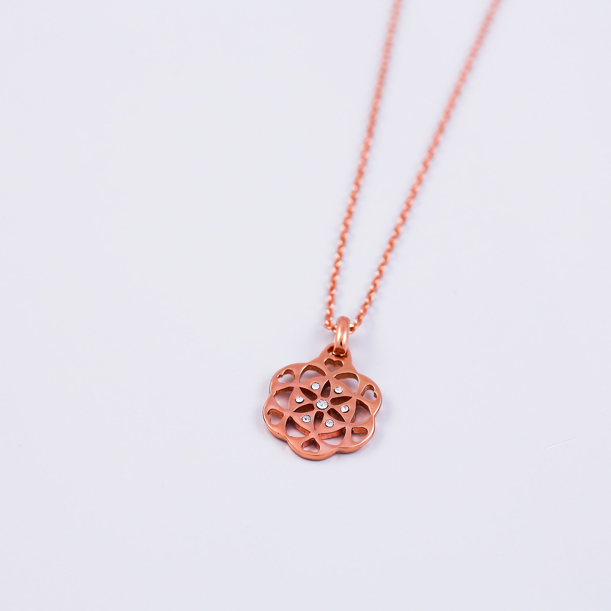 Rose Gold & Crystal Seed of Life Necklace