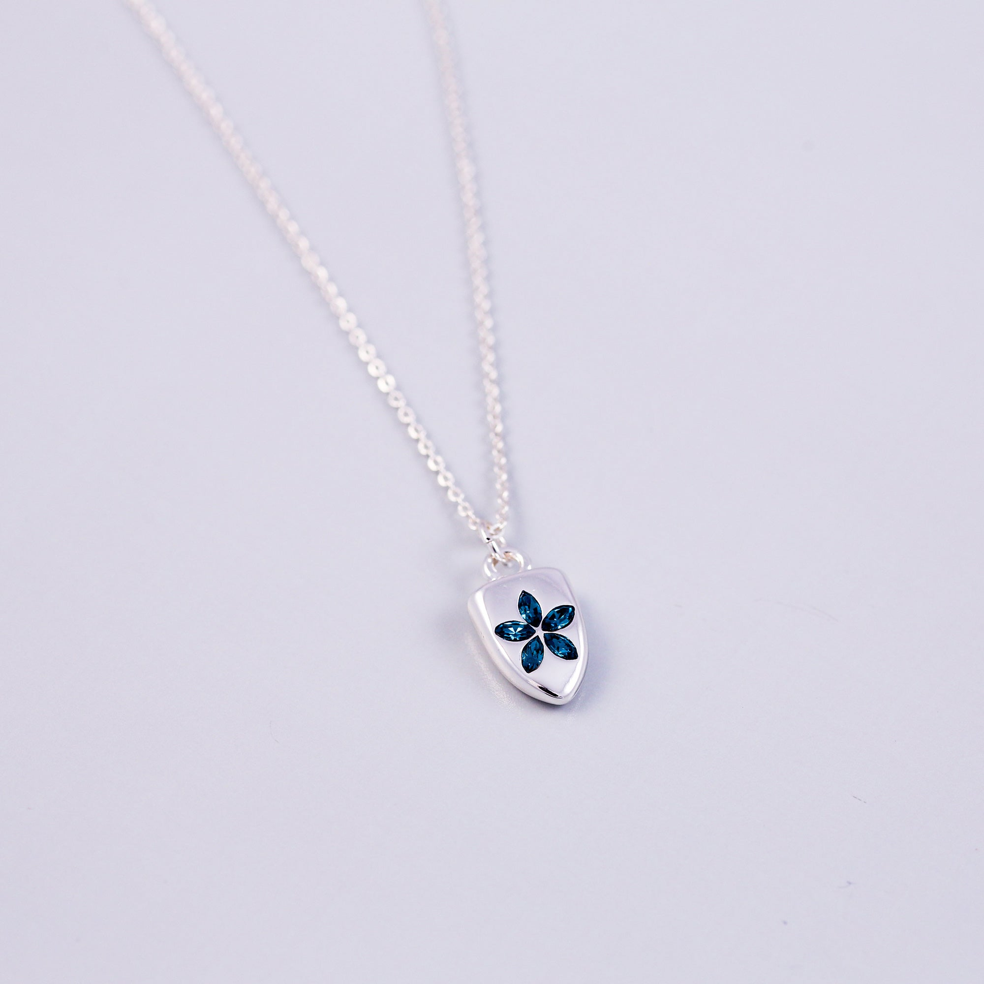 Silver & Blue Crystal Flower Shield Necklace