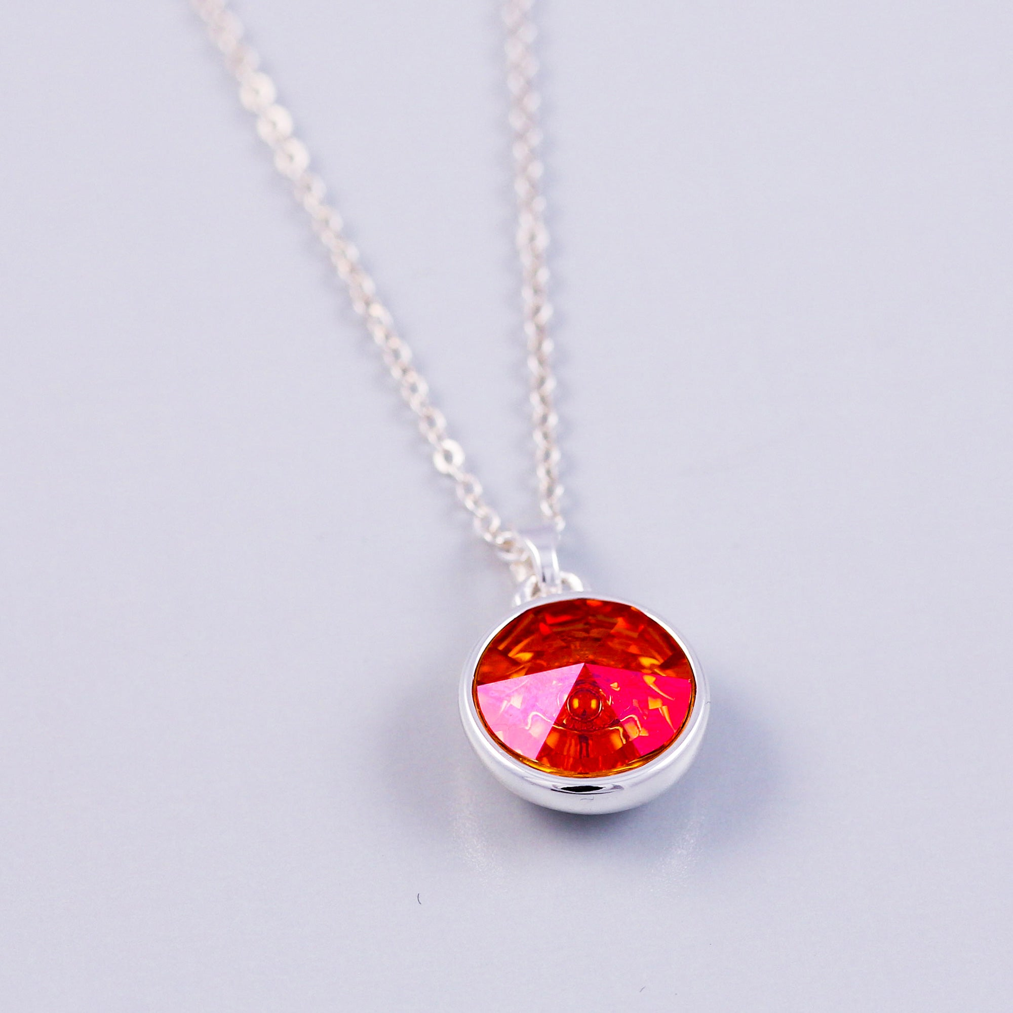 Silver Fire Element Gemstone Necklace