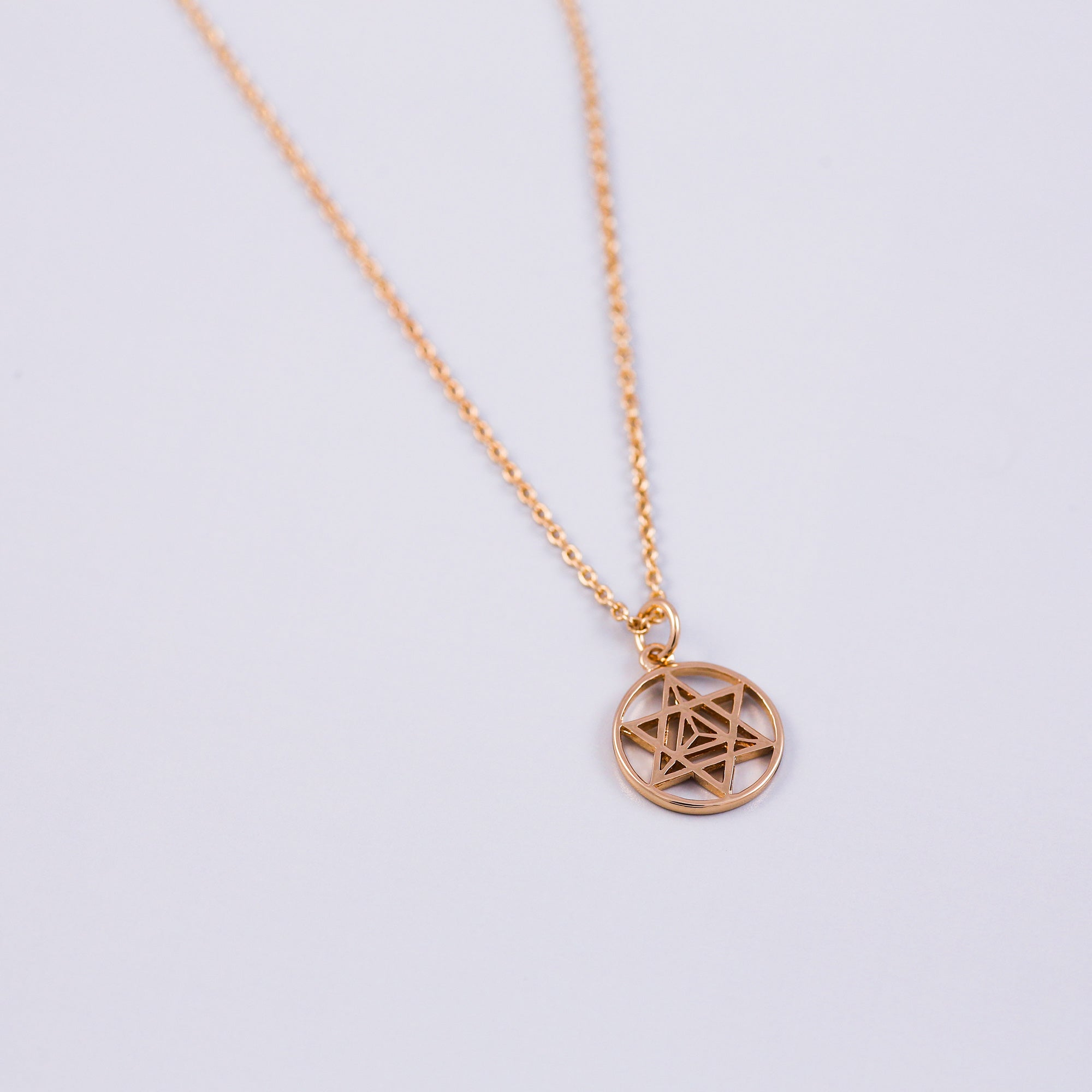 The Four Elements Earth Air Fire Water | Pentagram Charm Necklace | Gold
