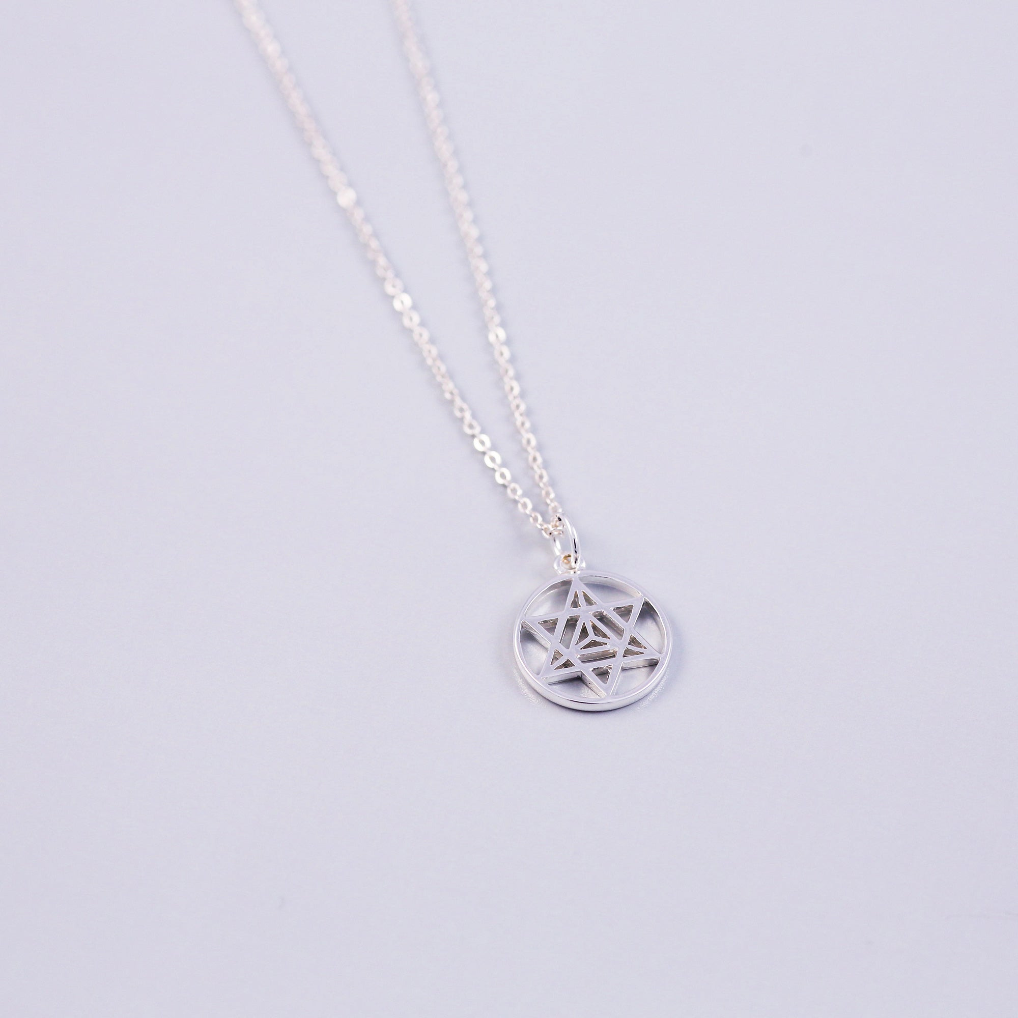 The Four Elements Earth Air Fire Water | Pentagram Charm Necklace | Silver