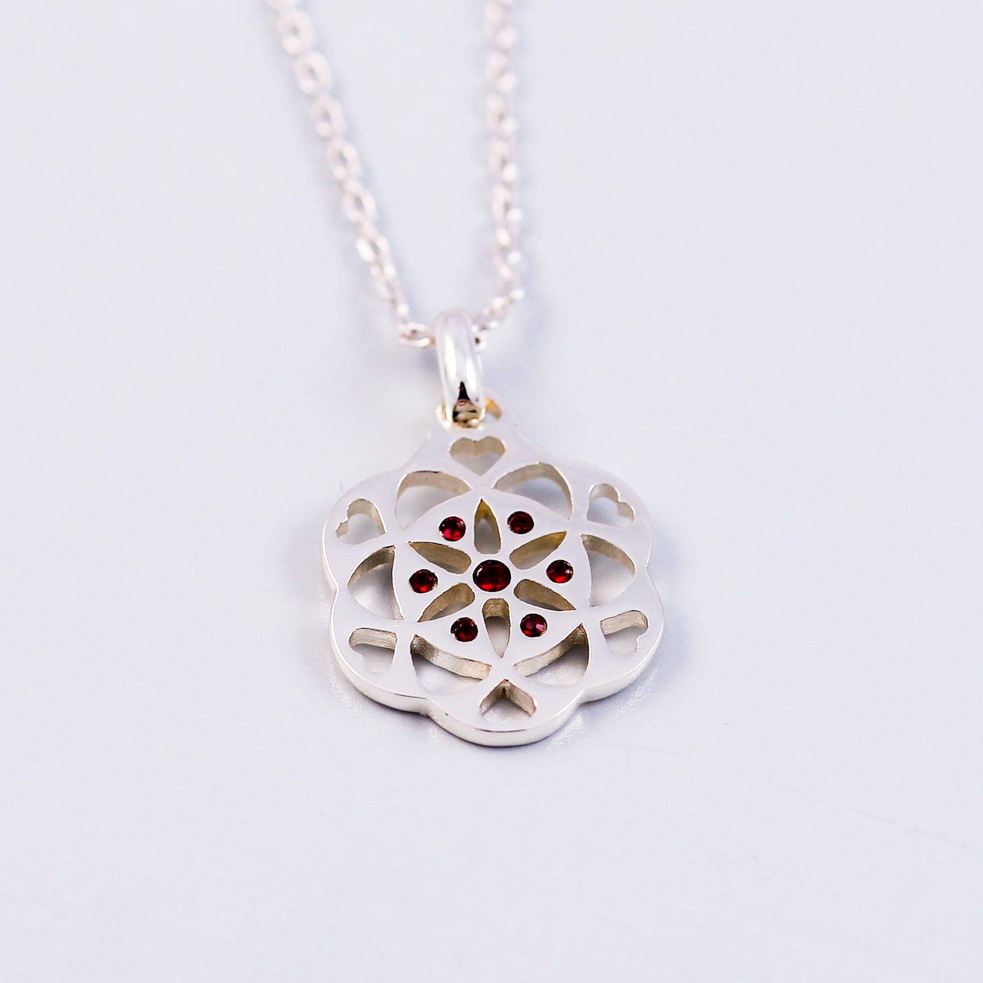Seed of Life Siam January Birthstone Necklace