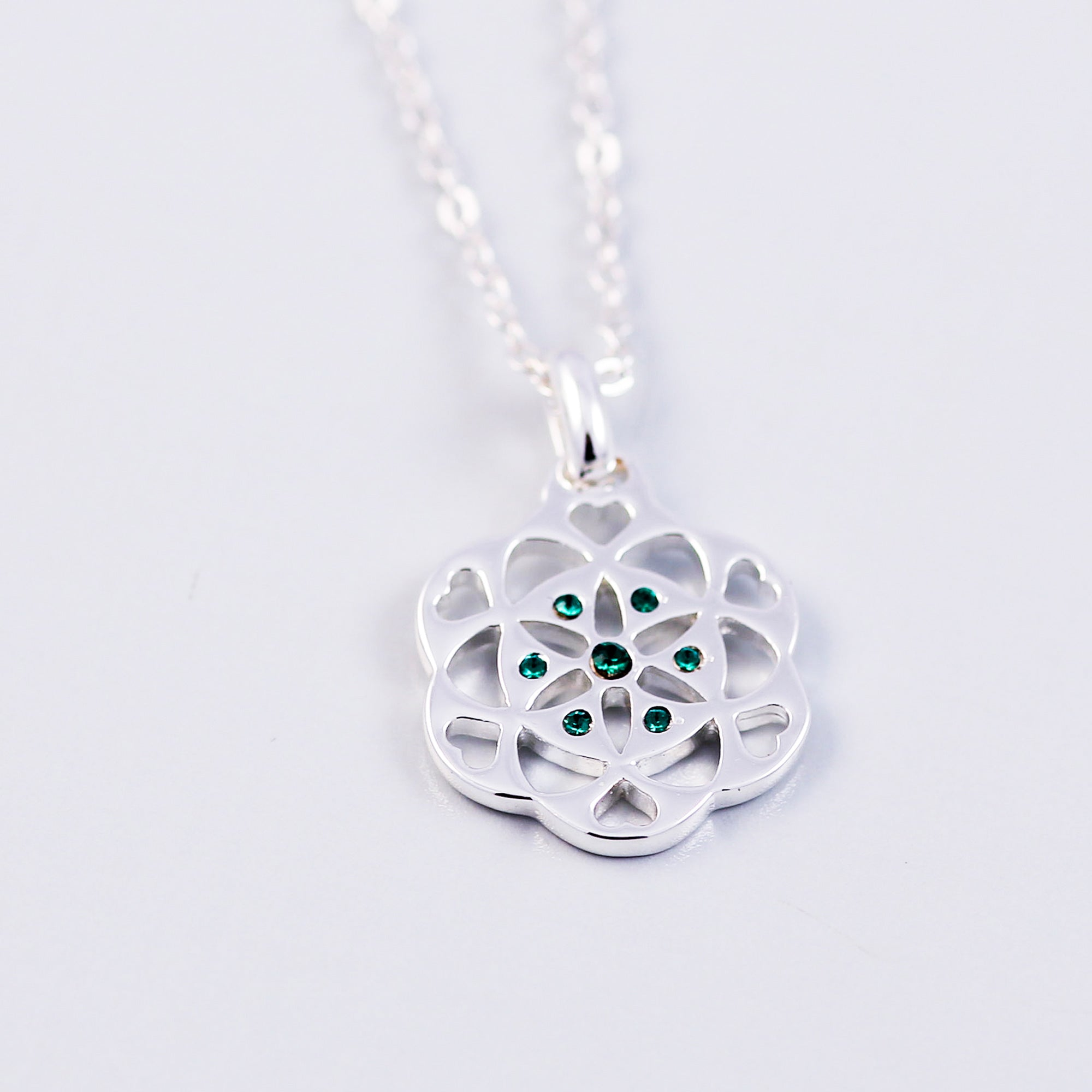 Seed of Life Emerald May Birthstone Necklace