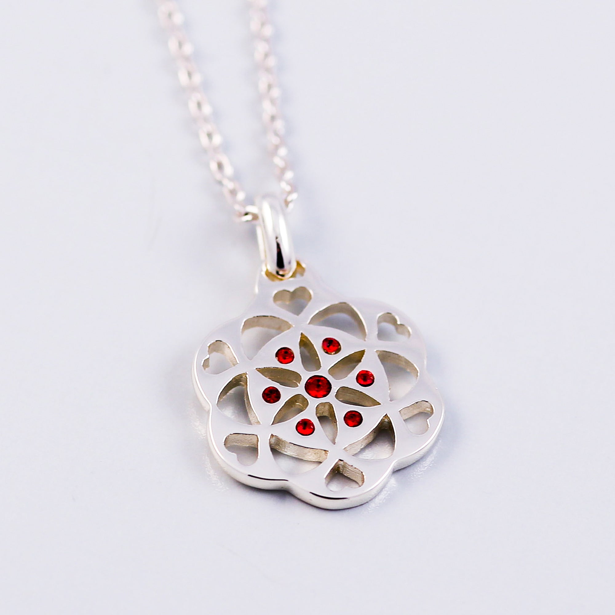 Seed of Life Ruby July Birthstone Necklace