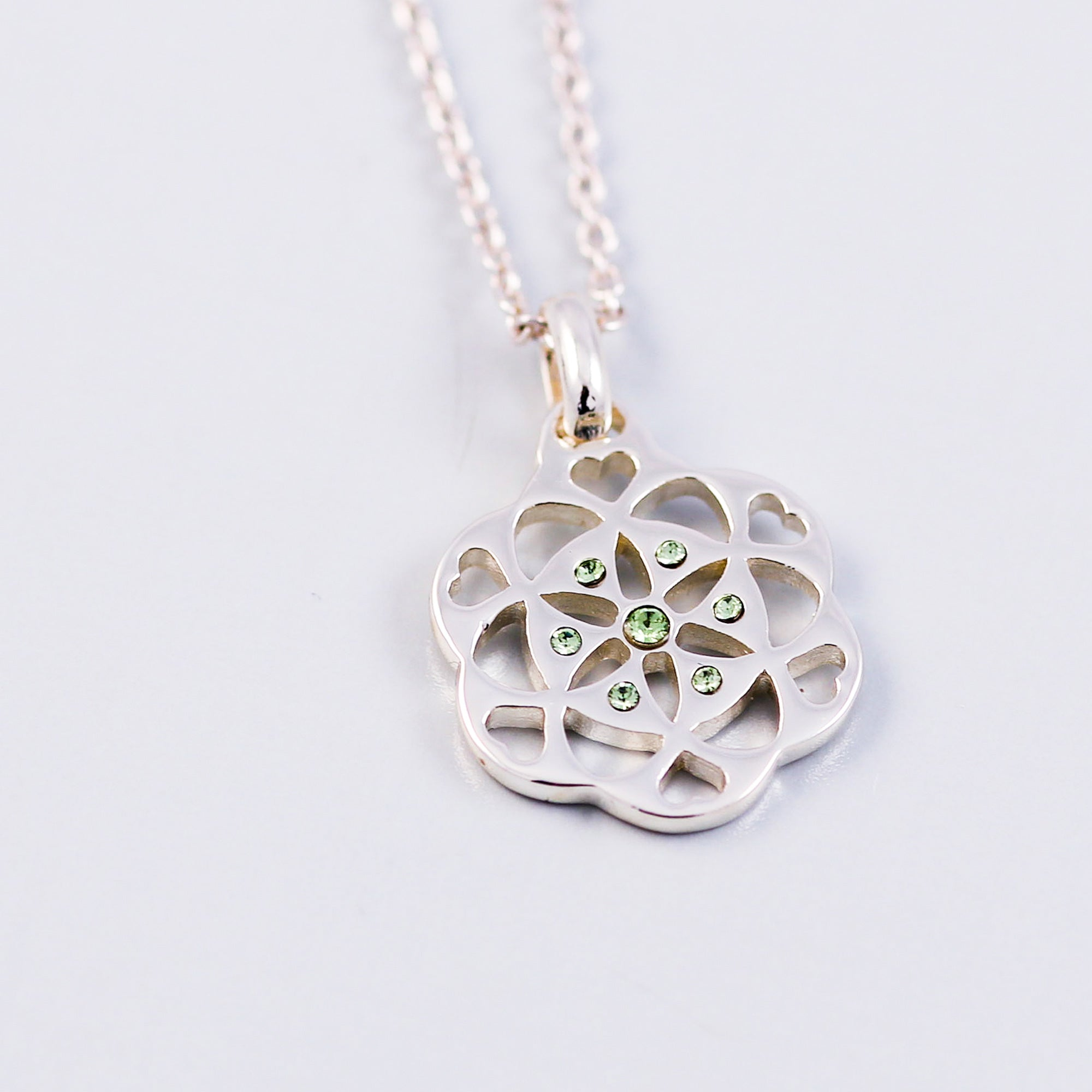 Seed of Life Peridot August Birthstone Necklace