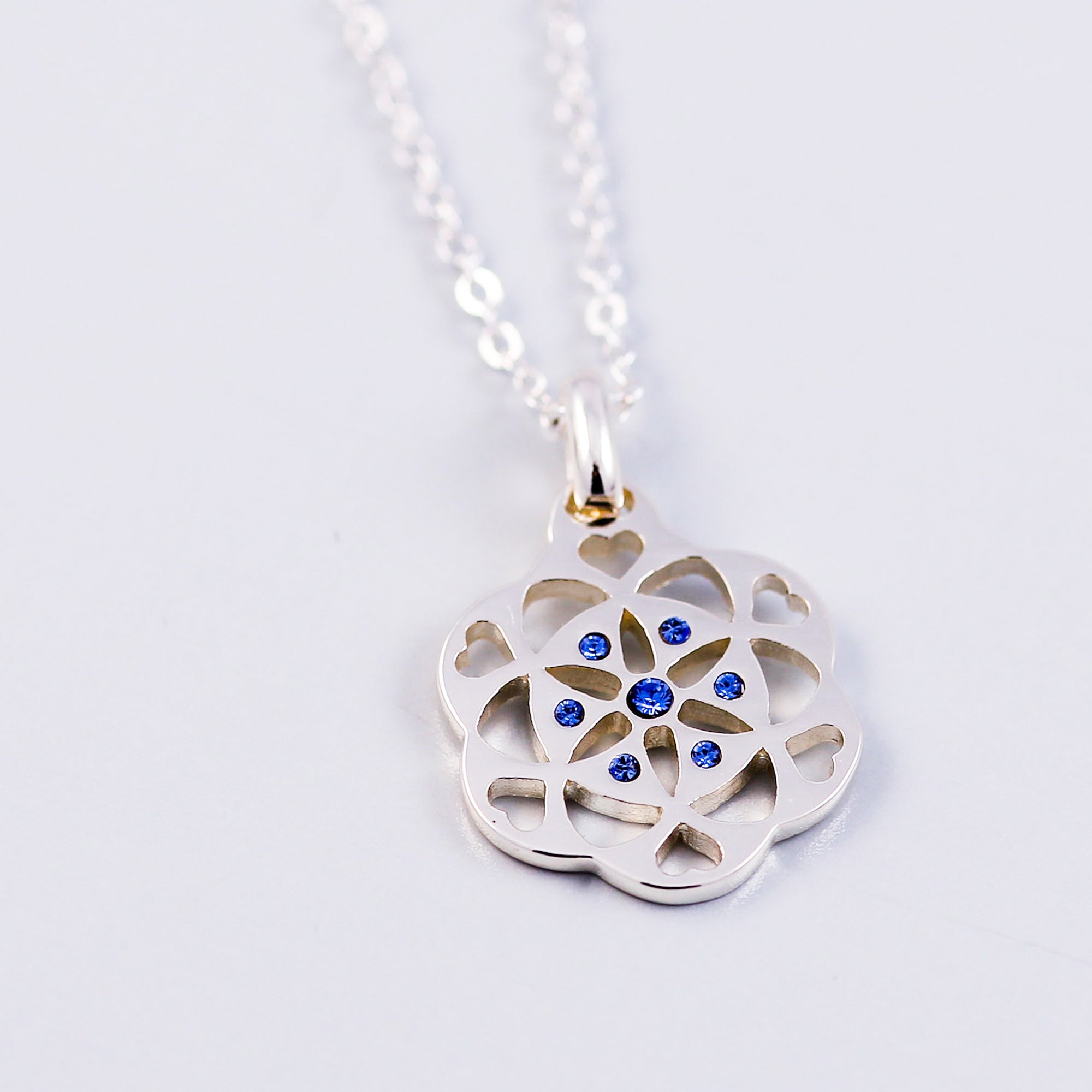 Seed of Life Sapphire September Birthstone Necklace