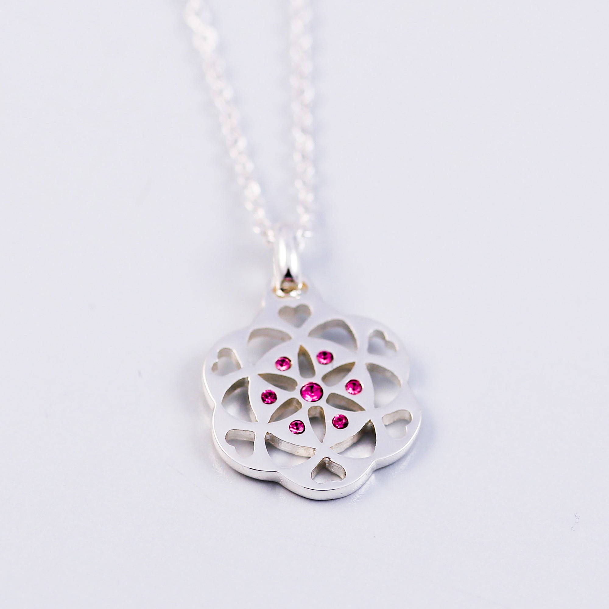Seed of Life Rose October Birthstone Necklace