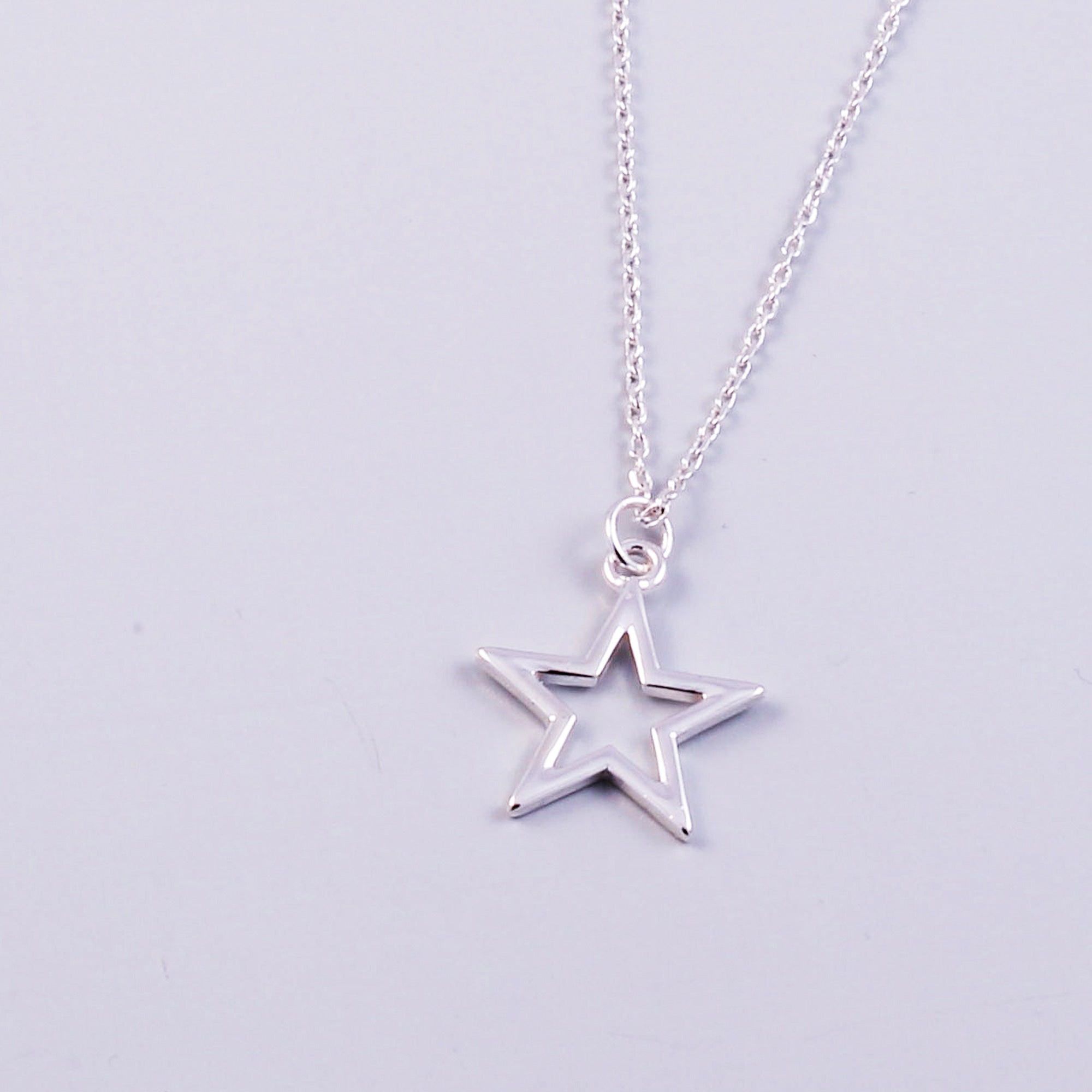 Silver Outline Star Necklace