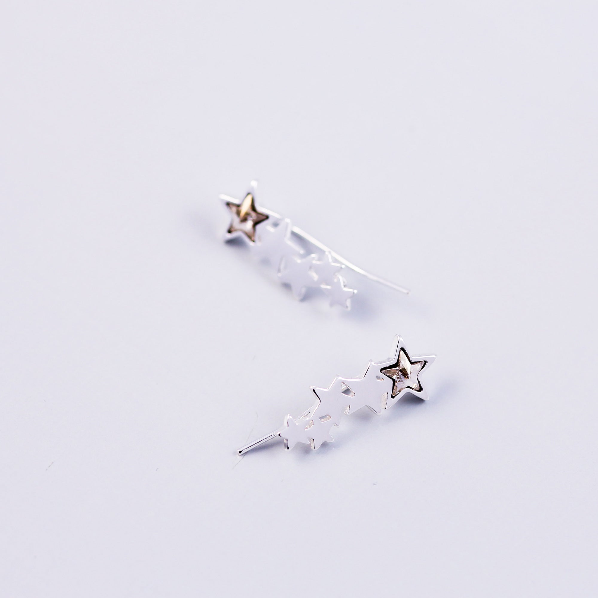 Silver & Crystal Shooting Star Ear Crawlers