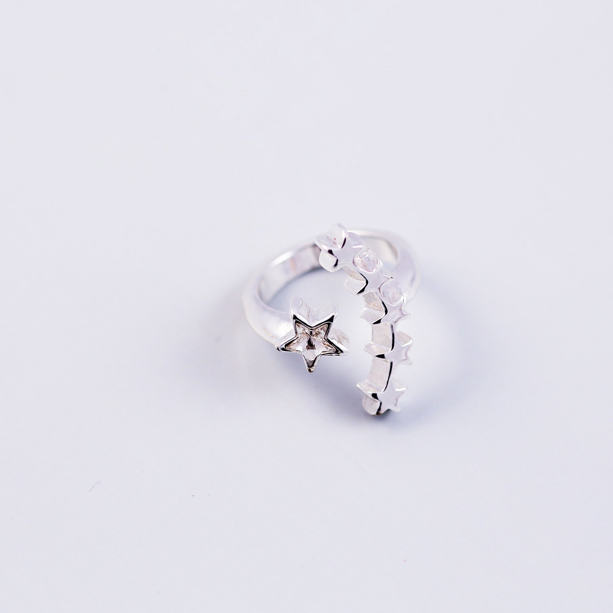 Silver & Crystal Shooting Star Cocktail Ring