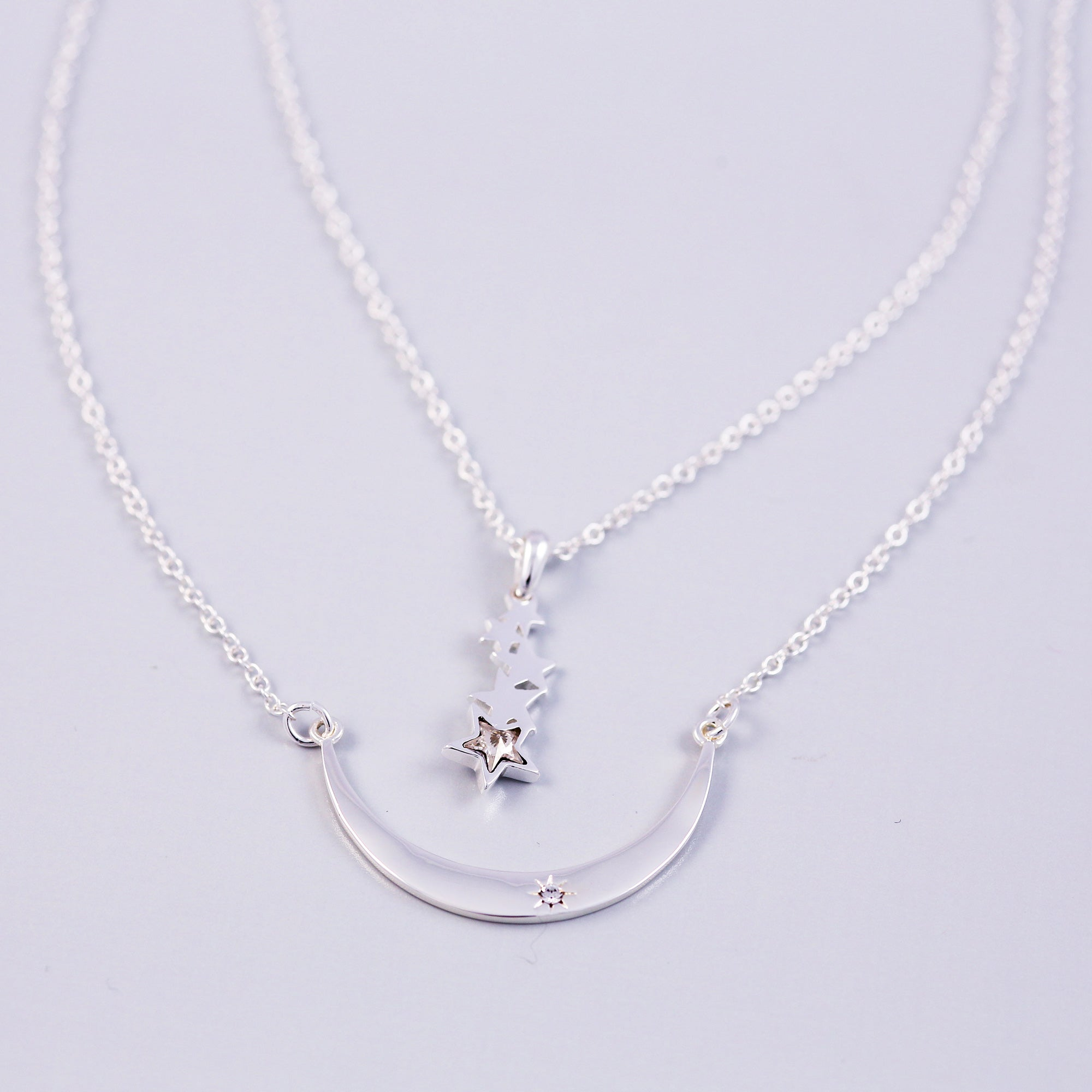 Silver Layered Moon & Star Shower Necklace