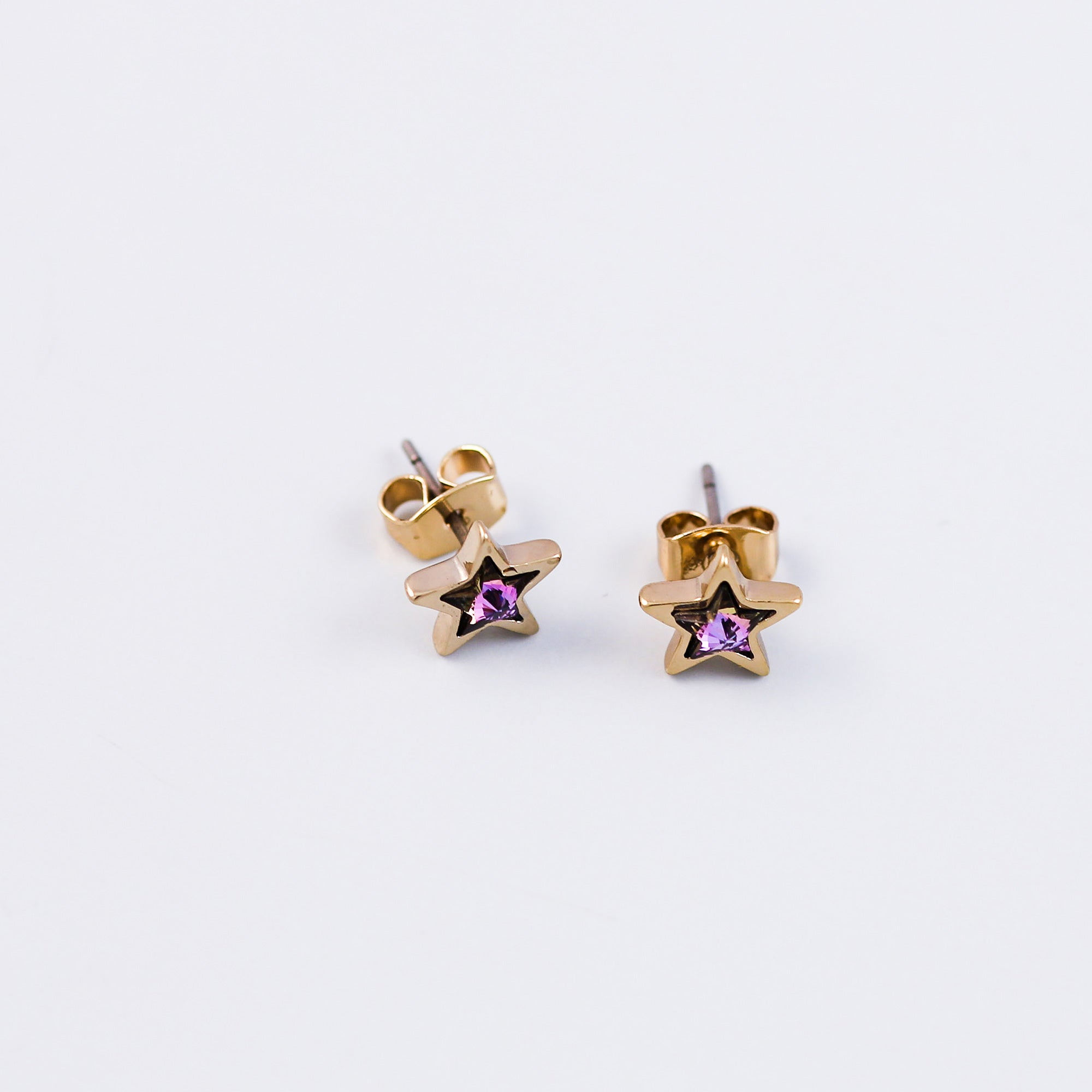 Gold & Purple Crystal Star Stud Earrings